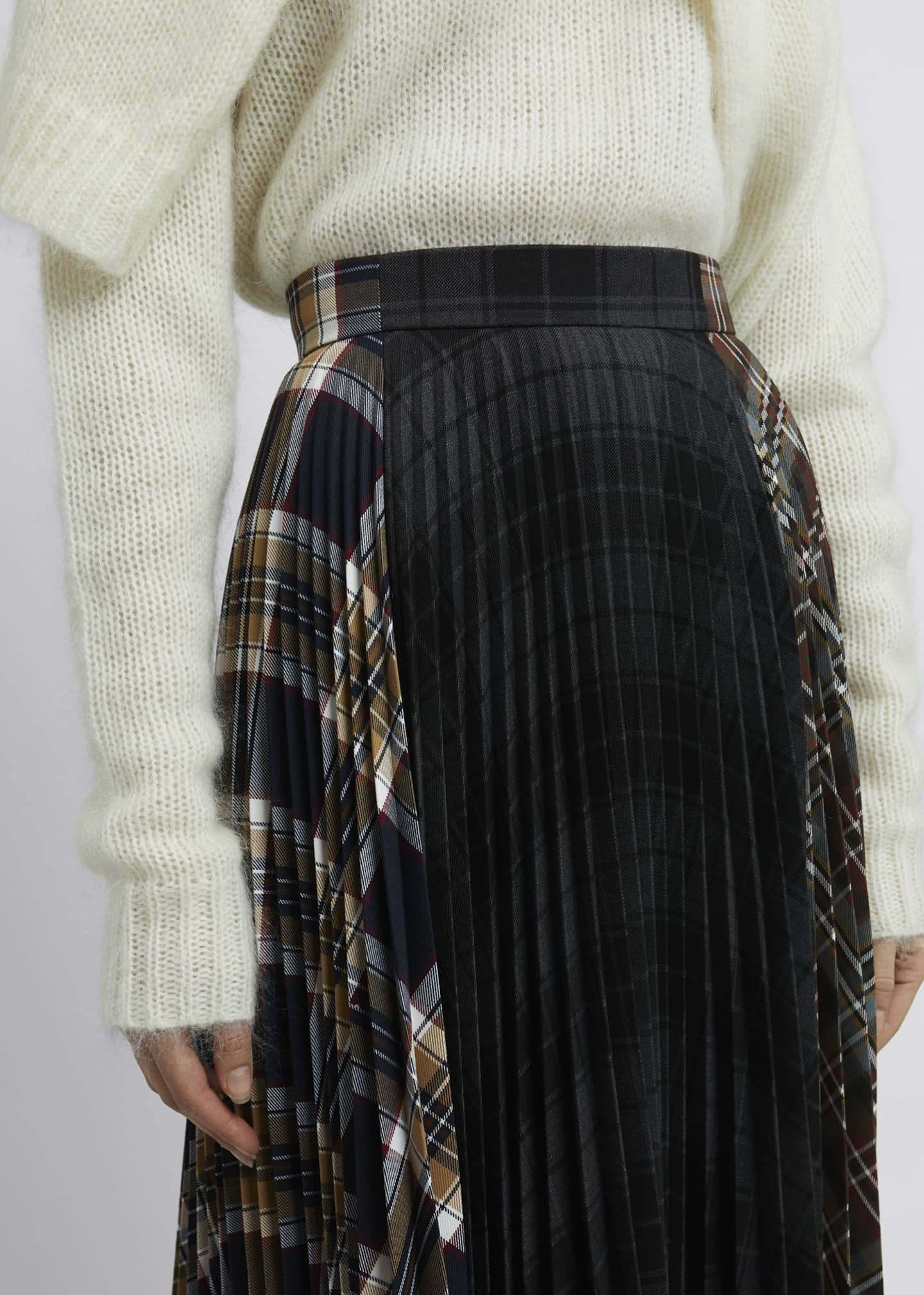 Image 4 of 4: Multi Check Asymmetric Pleated Midi Skirt