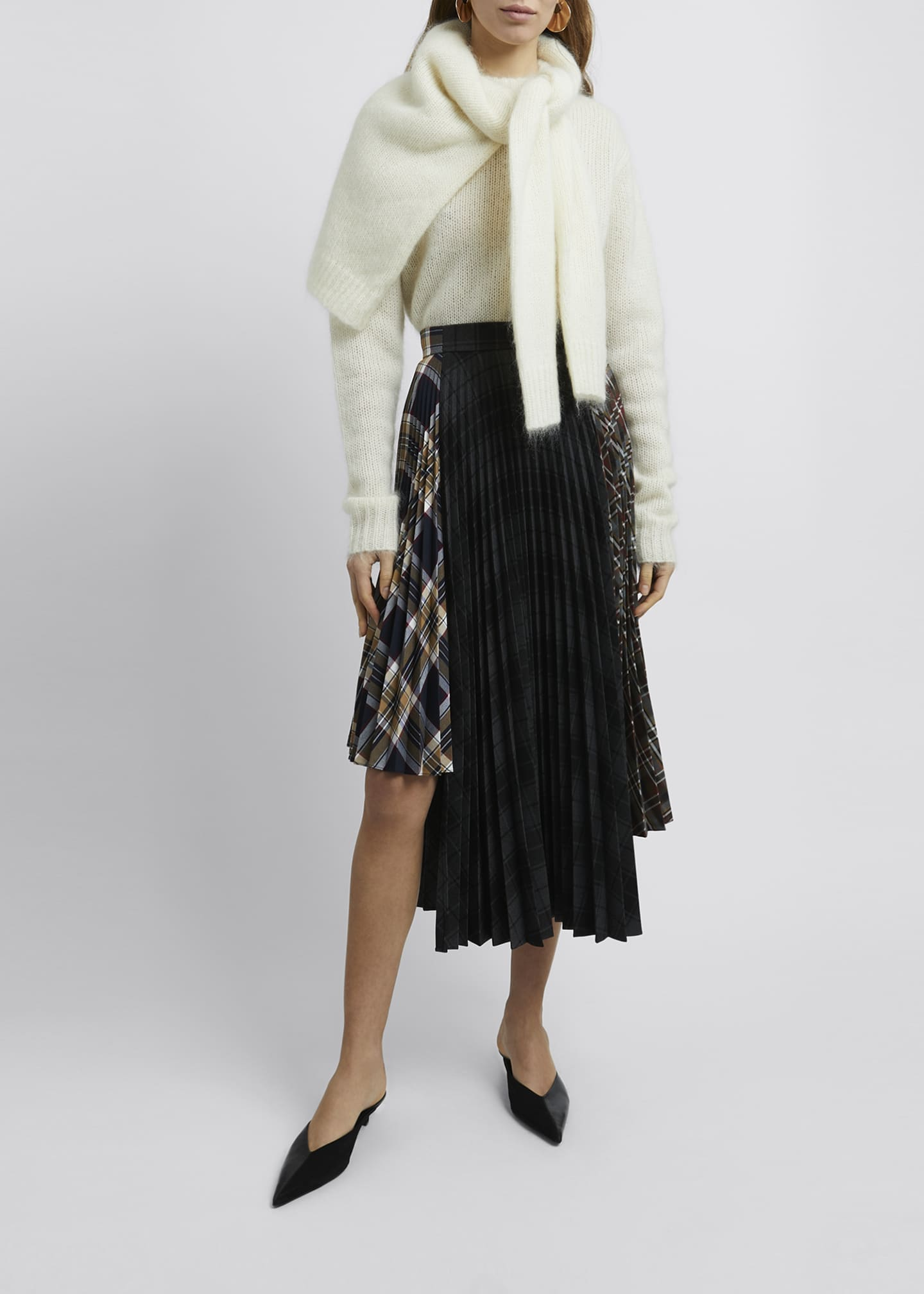 Image 1 of 4: Multi Check Asymmetric Pleated Midi Skirt