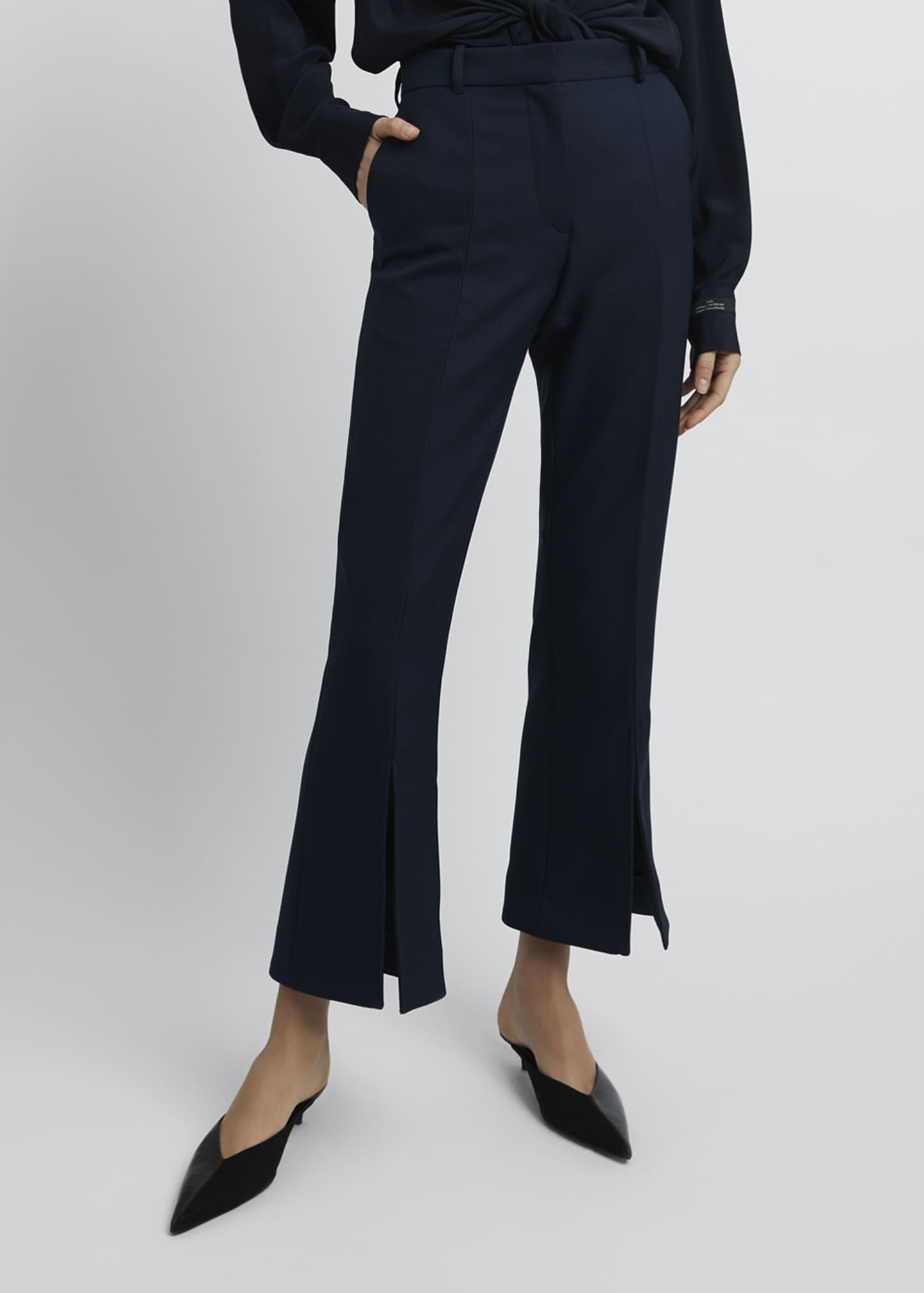 Image 3 of 4: Kick-Split Cropped Pants