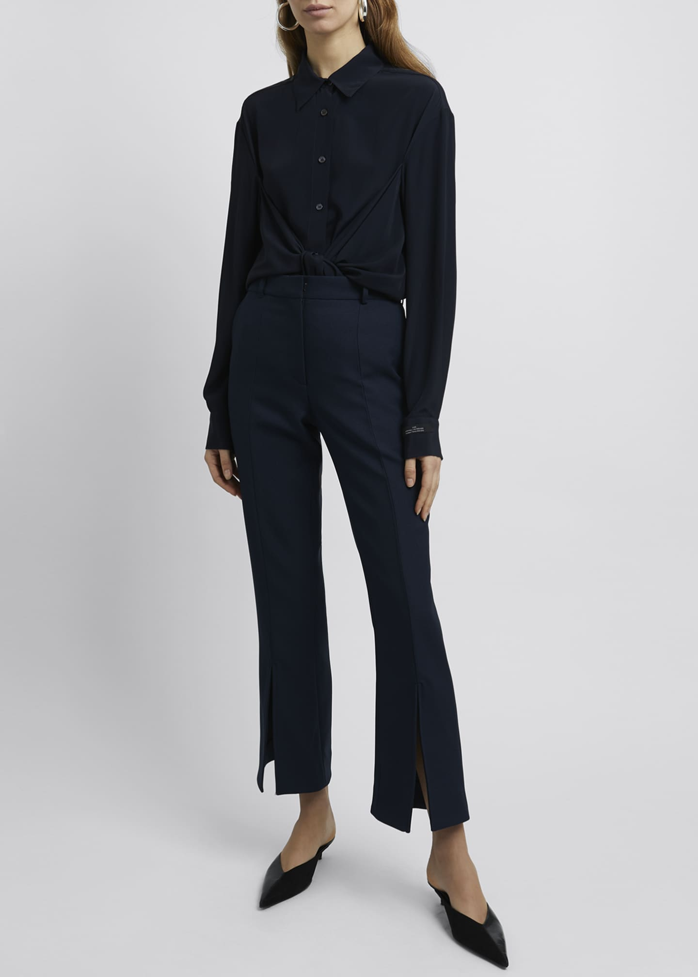 Image 1 of 4: Kick-Split Cropped Pants