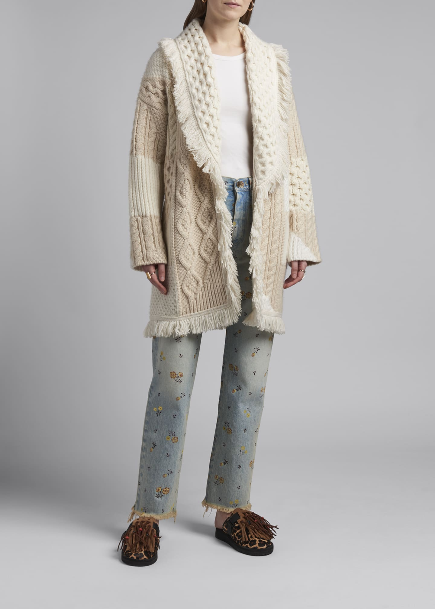 Image 3 of 4: Cashmere-Wool Quilted Cardigan