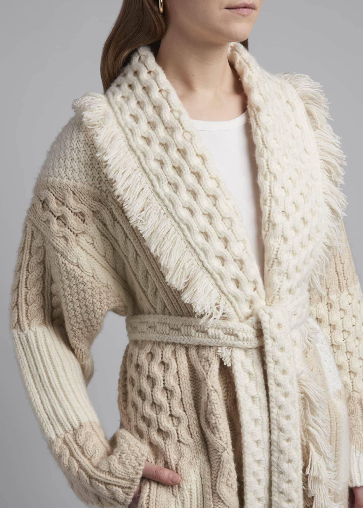 Image 4 of 4: Cashmere-Wool Quilted Cardigan