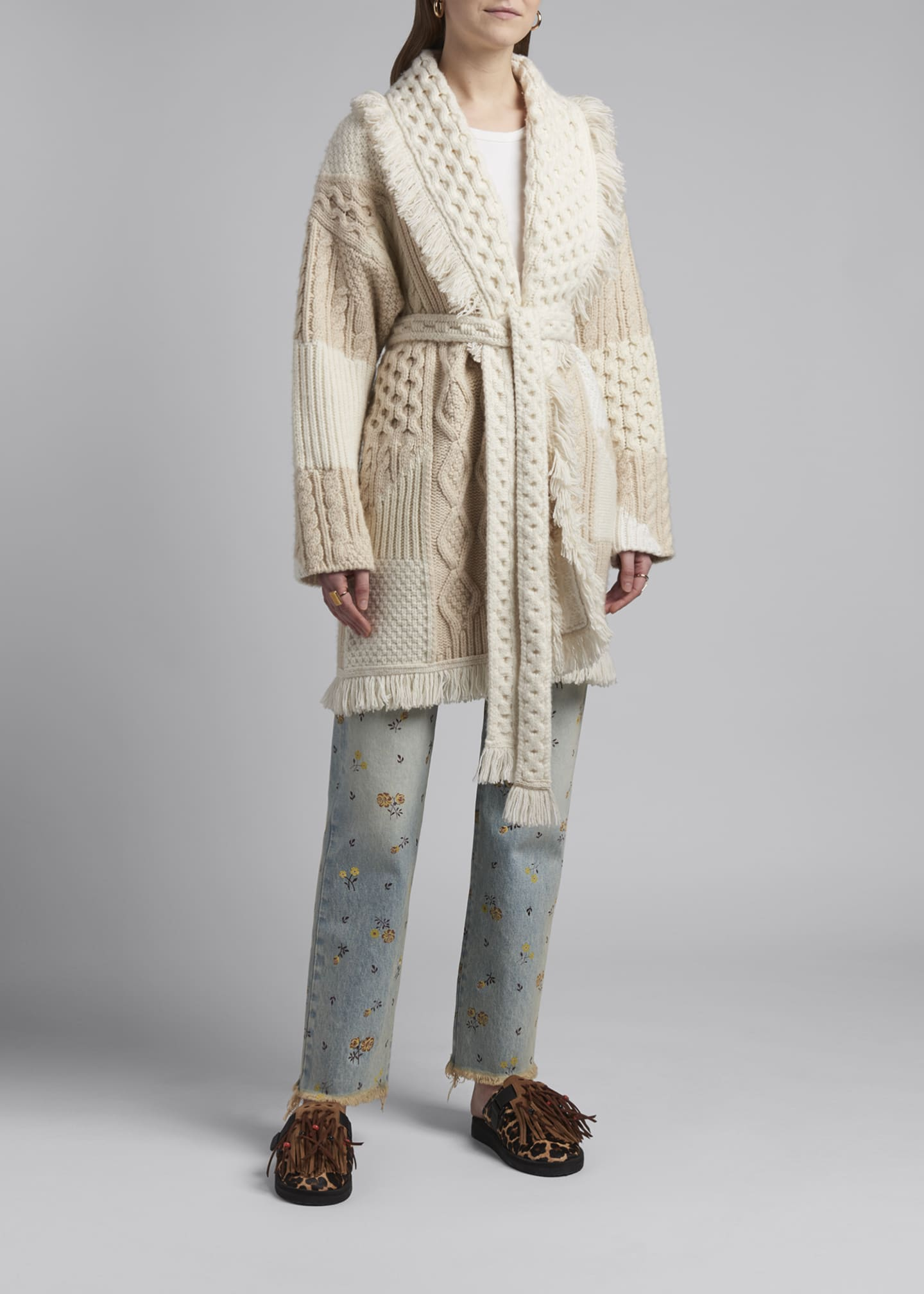Image 1 of 4: Cashmere-Wool Quilted Cardigan