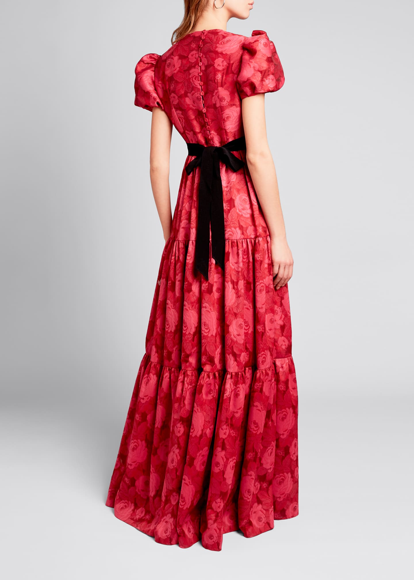 Image 2 of 3: Tiered Chiffon Short-Sleeve Gown