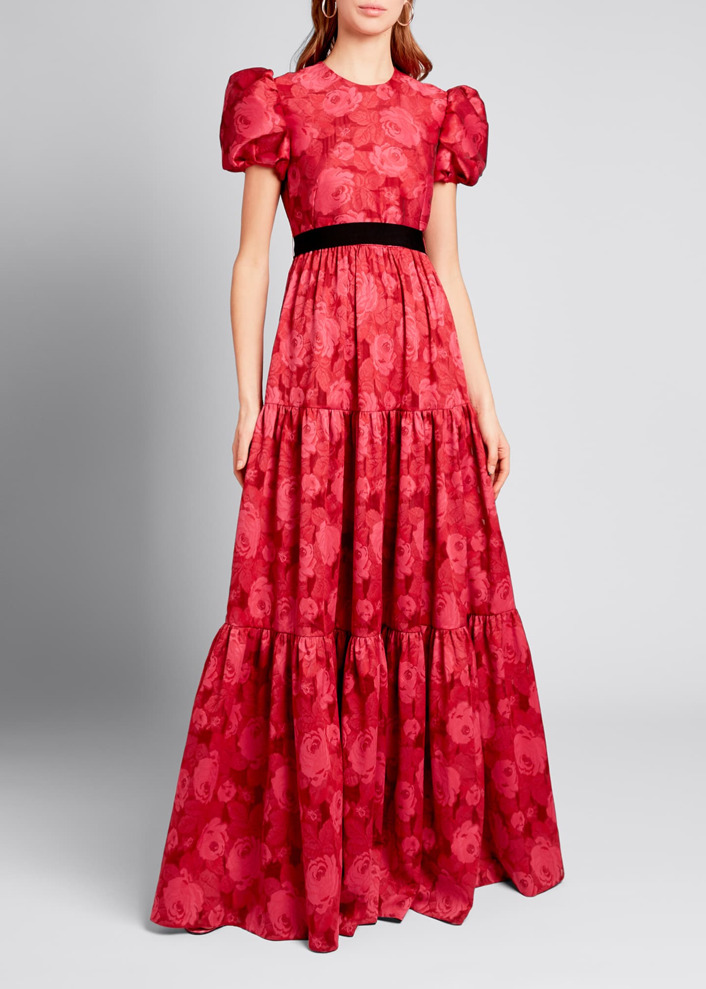 Image 1 of 3: Tiered Chiffon Short-Sleeve Gown