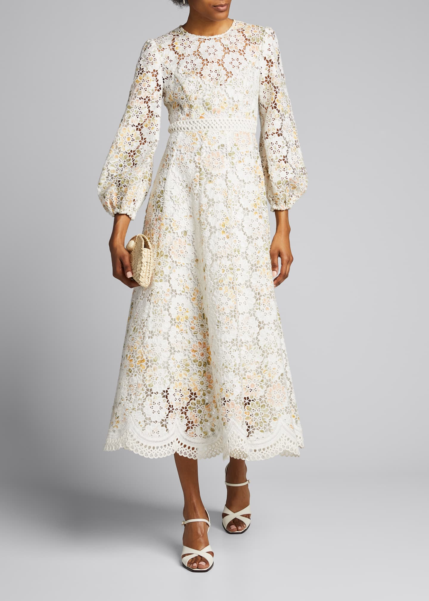 Image 1 of 5: Amelie Embroidered Long Dress