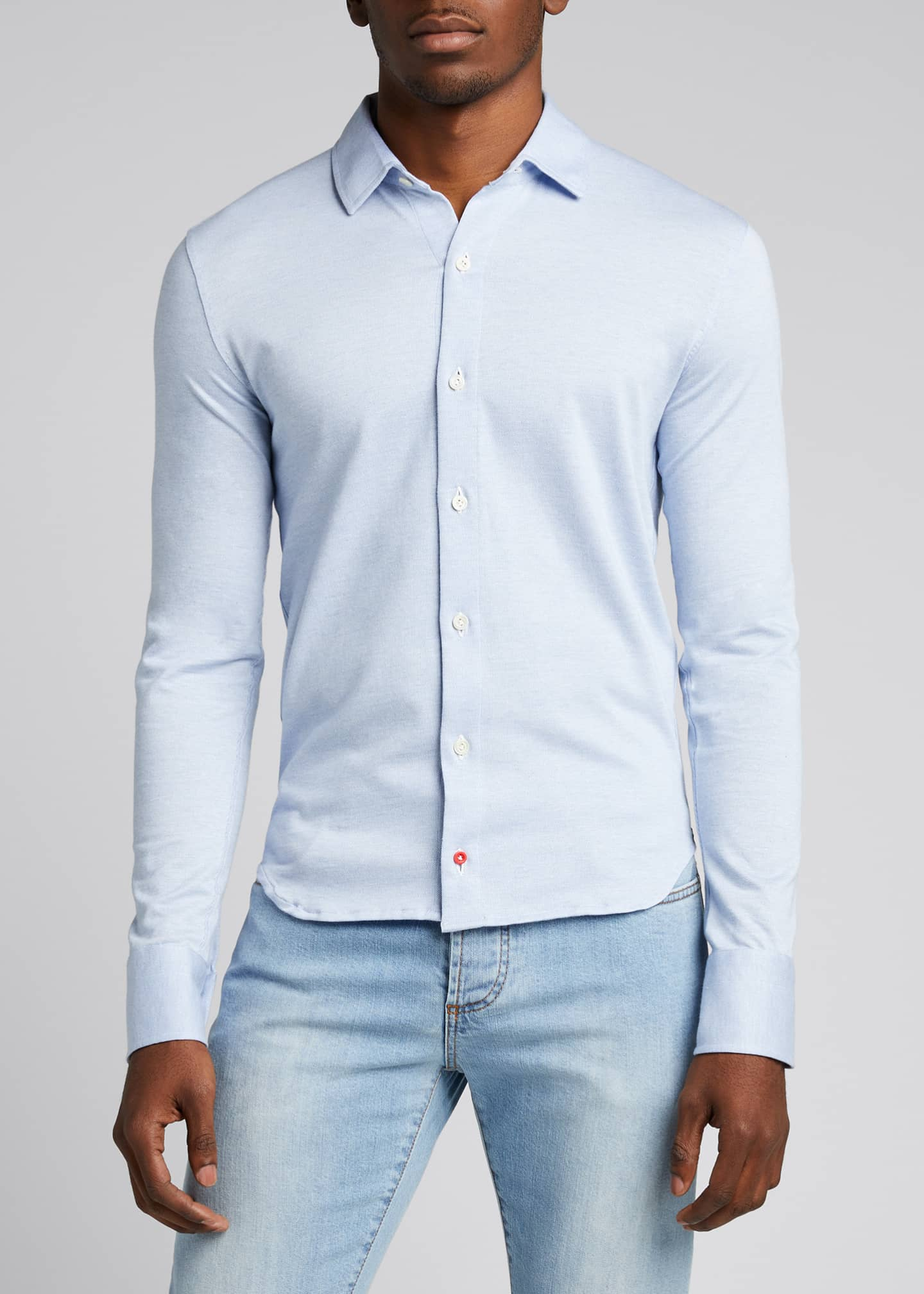 Image 3 of 5: Men's Solid Jersey Sport Shirt