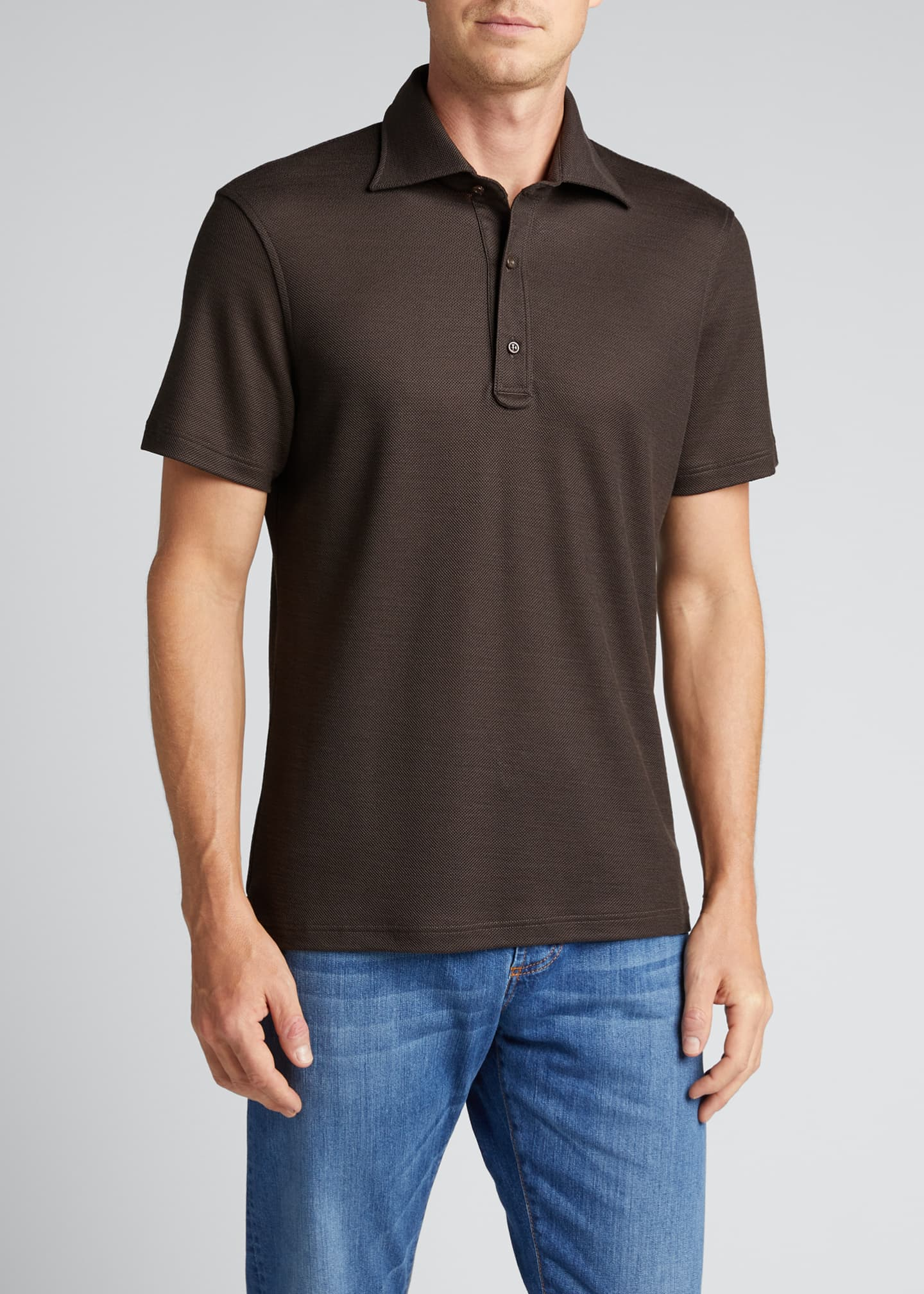 Image 3 of 5: Men's Grand Pique Wool Polo Shirt