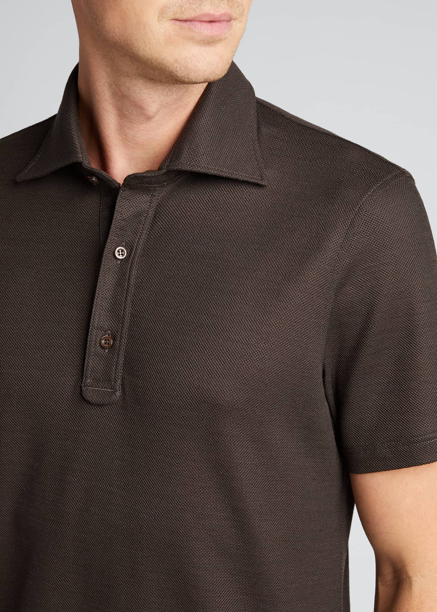 Image 4 of 5: Men's Grand Pique Wool Polo Shirt