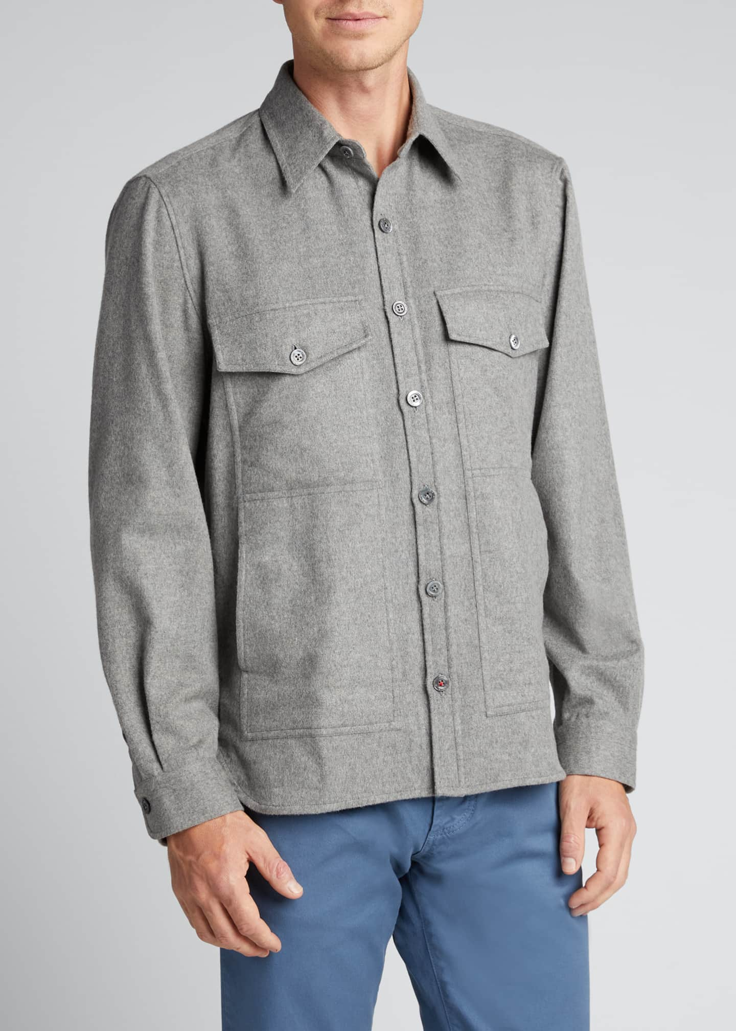 Image 3 of 5: Men's 4-Pocket Wool-Cashmere Overshirt