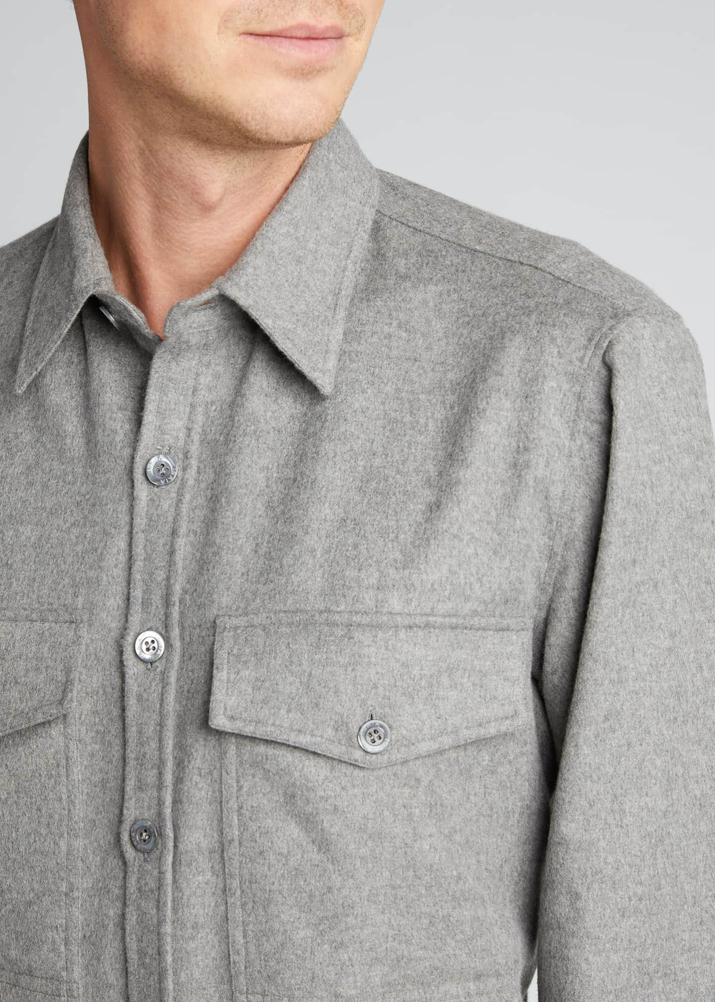 Image 4 of 5: Men's 4-Pocket Wool-Cashmere Overshirt