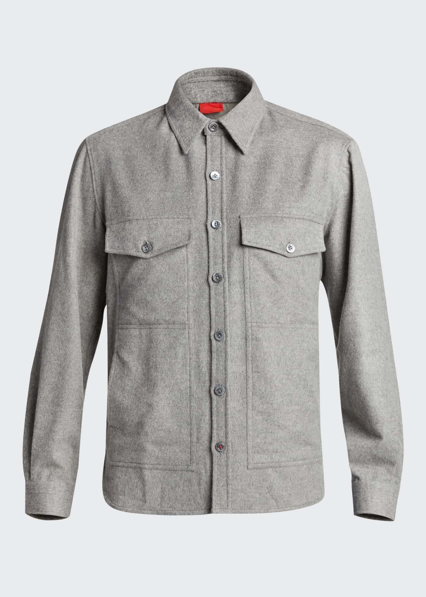 Image 5 of 5: Men's 4-Pocket Wool-Cashmere Overshirt