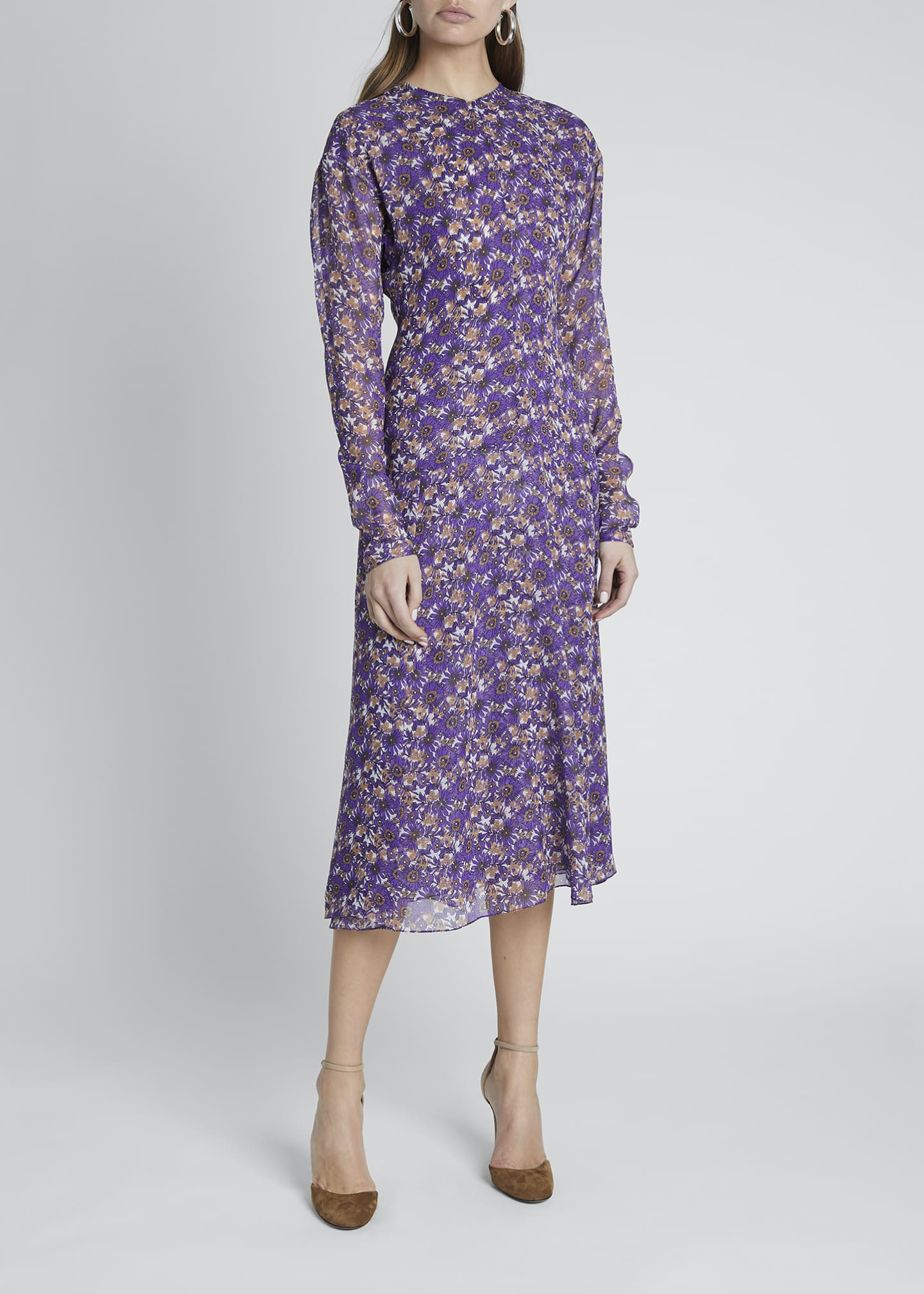 Image 3 of 4: Floral Crewneck A-Line Dress