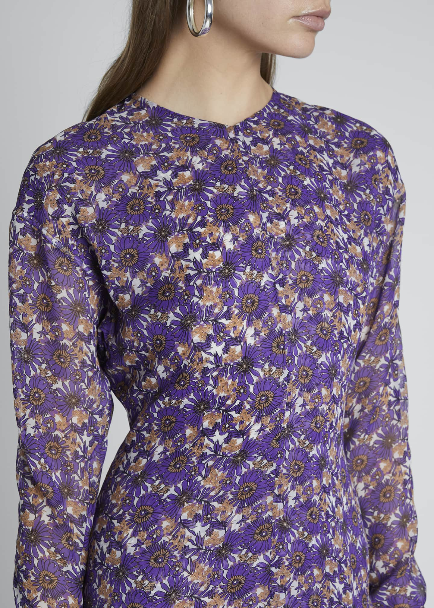 Image 4 of 4: Floral Crewneck A-Line Dress