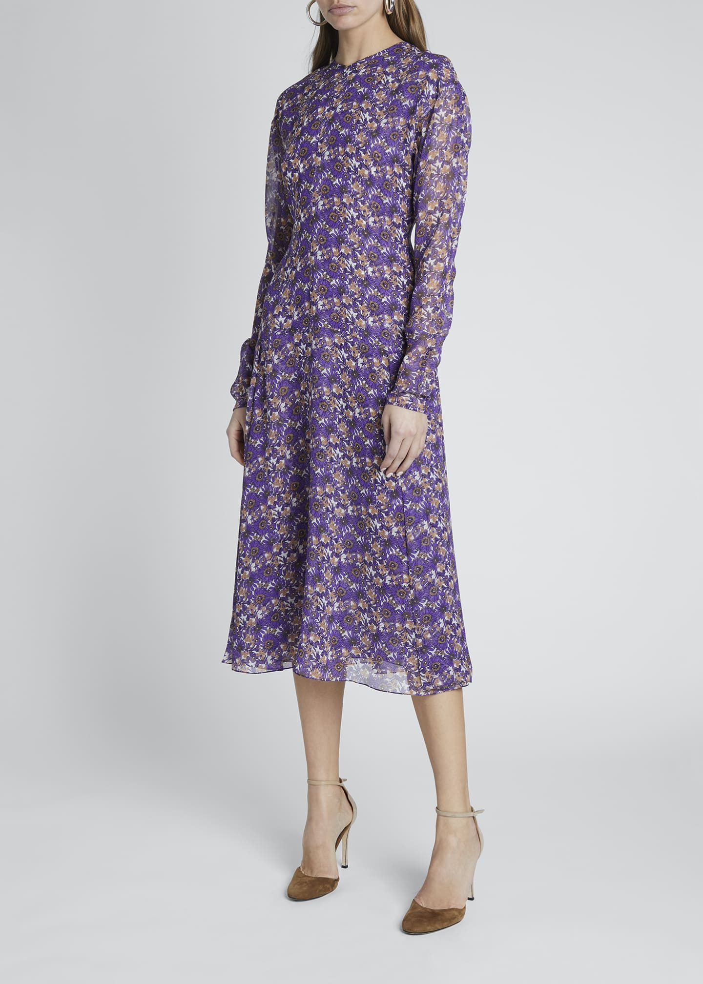 Image 1 of 4: Floral Crewneck A-Line Dress