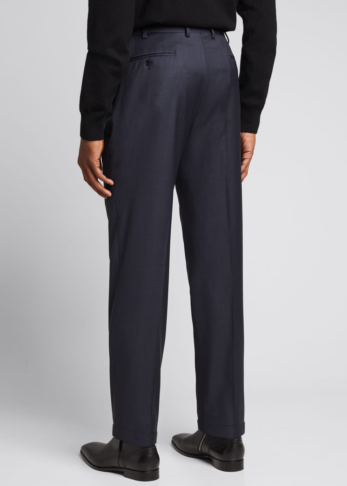 Image 2 of 5: Men's Tigulli Solid Wool Trousers