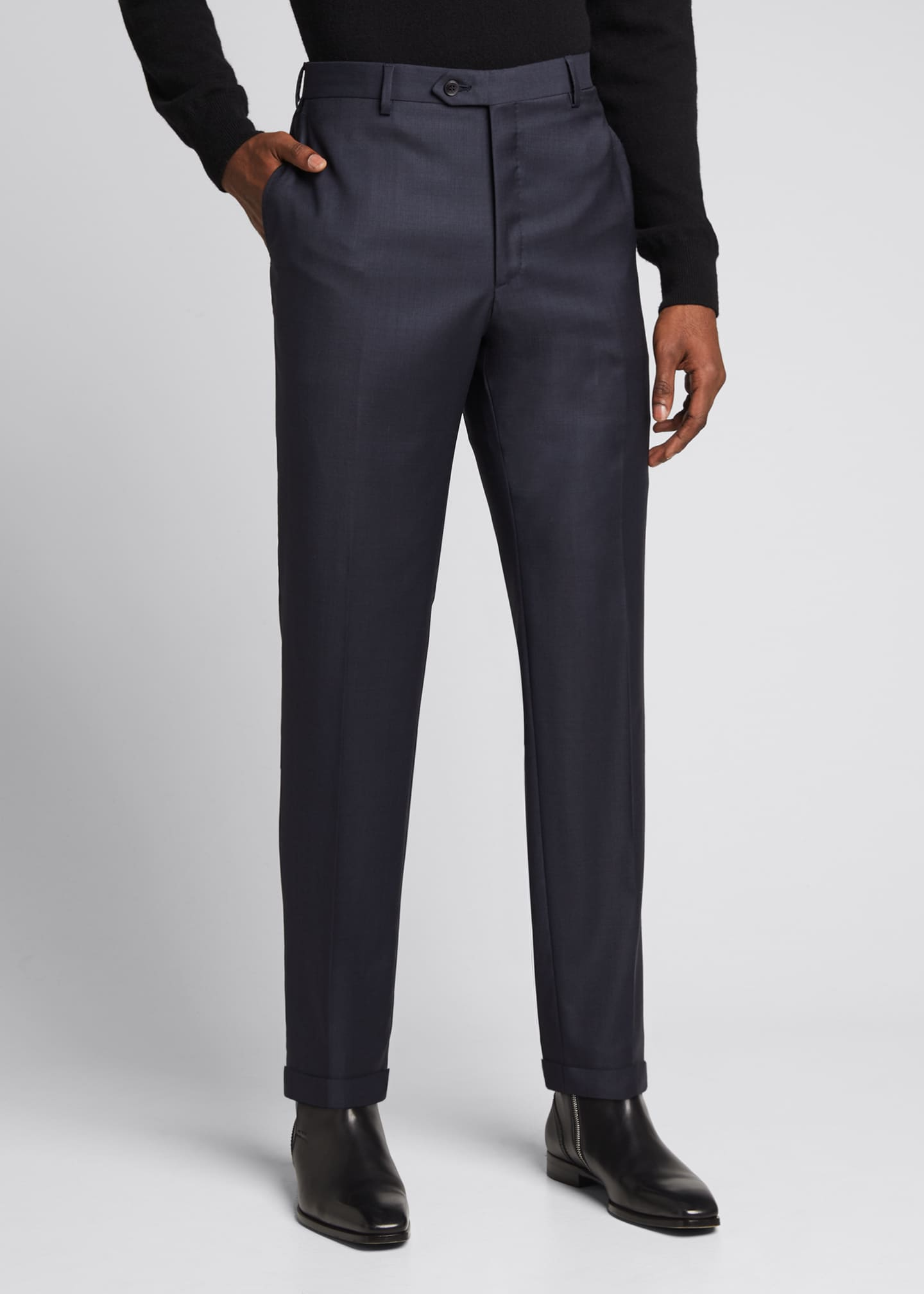 Image 3 of 5: Men's Tigulli Solid Wool Trousers