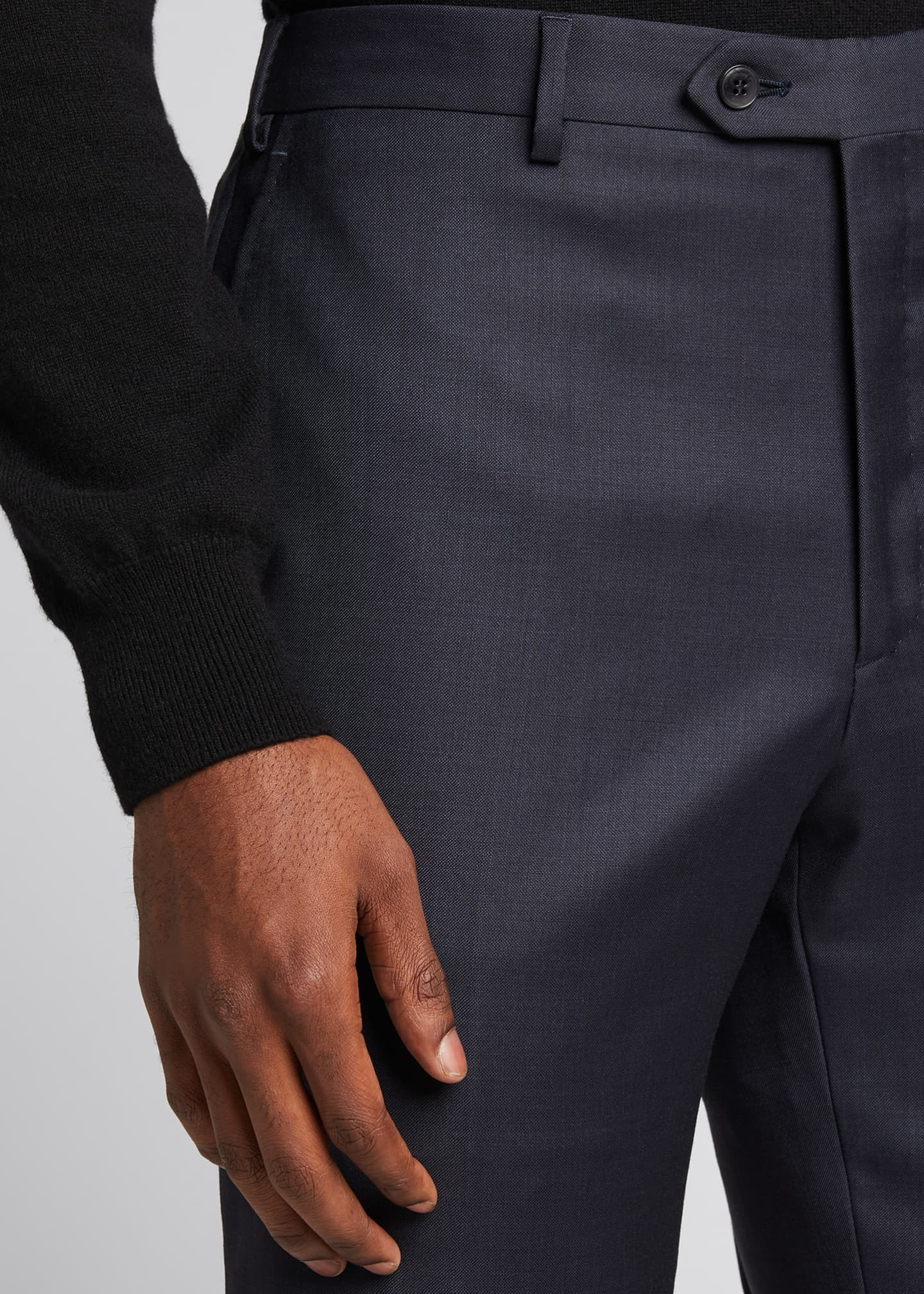 Image 4 of 5: Men's Tigulli Solid Wool Trousers