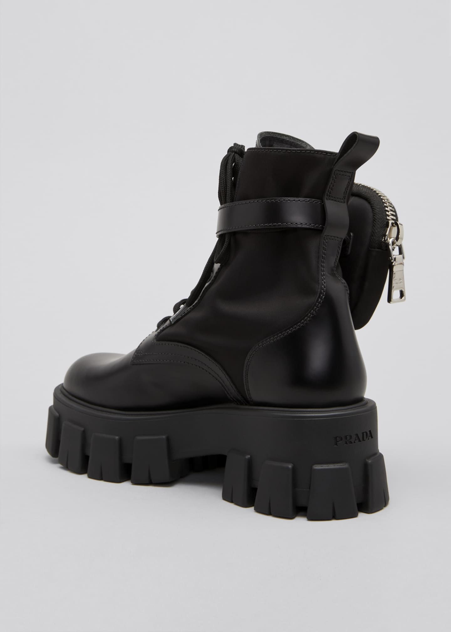 Image 2 of 3: Leather Zip Pocket Combat Booties