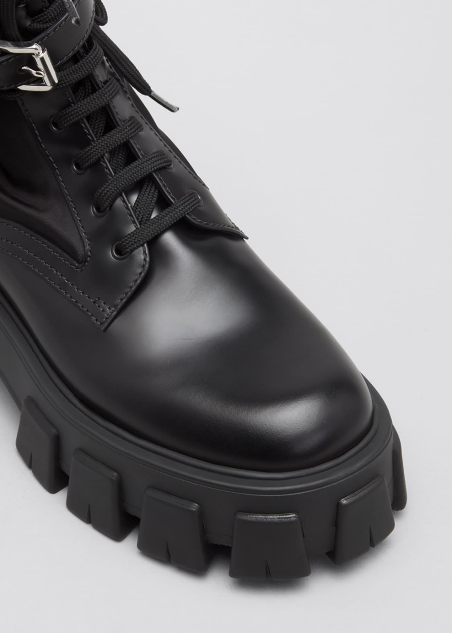 Image 3 of 3: Leather Zip Pocket Combat Booties