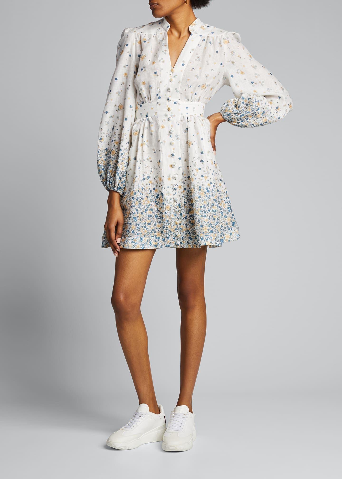 Image 3 of 5: Carnaby Button-Front Floral Short Dress
