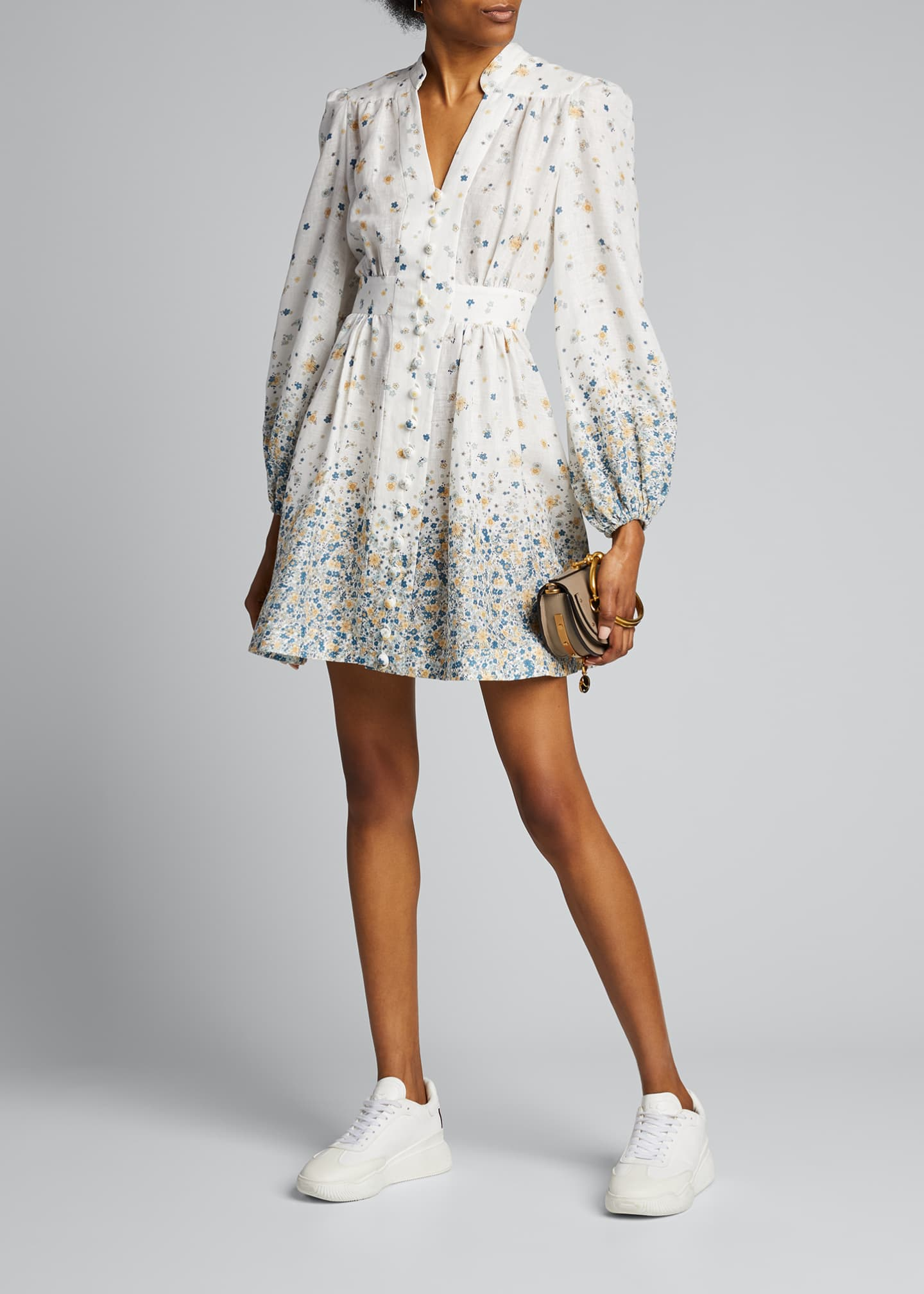 Image 1 of 5: Carnaby Button-Front Floral Short Dress