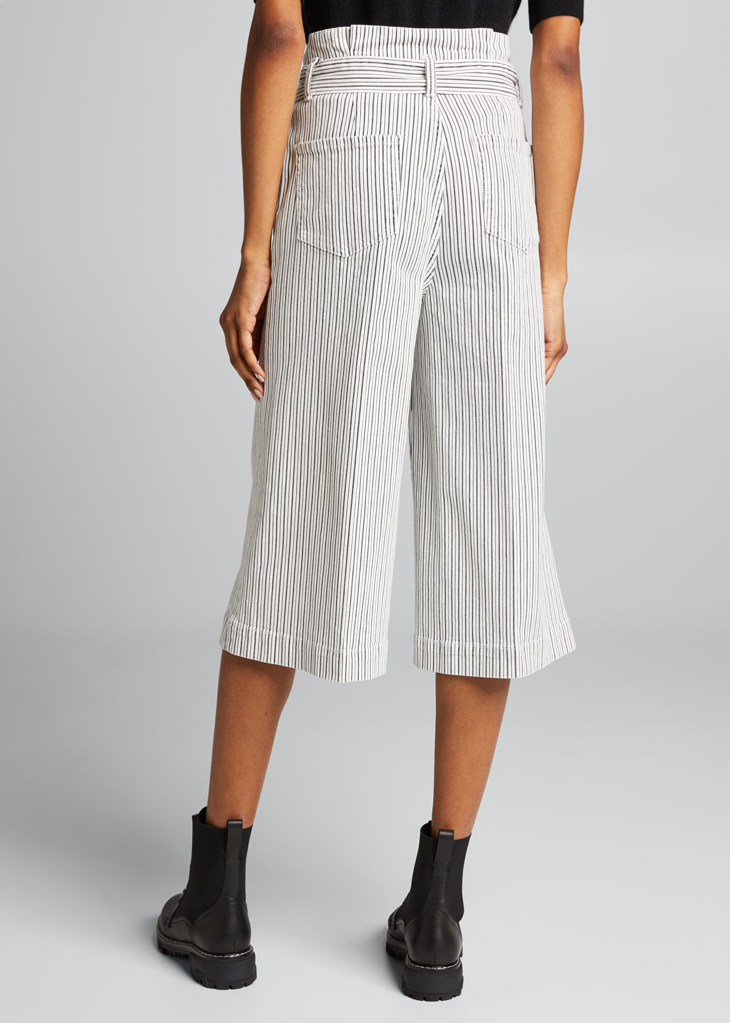 Image 2 of 5: Striped Pleated Culottes w/ Belt