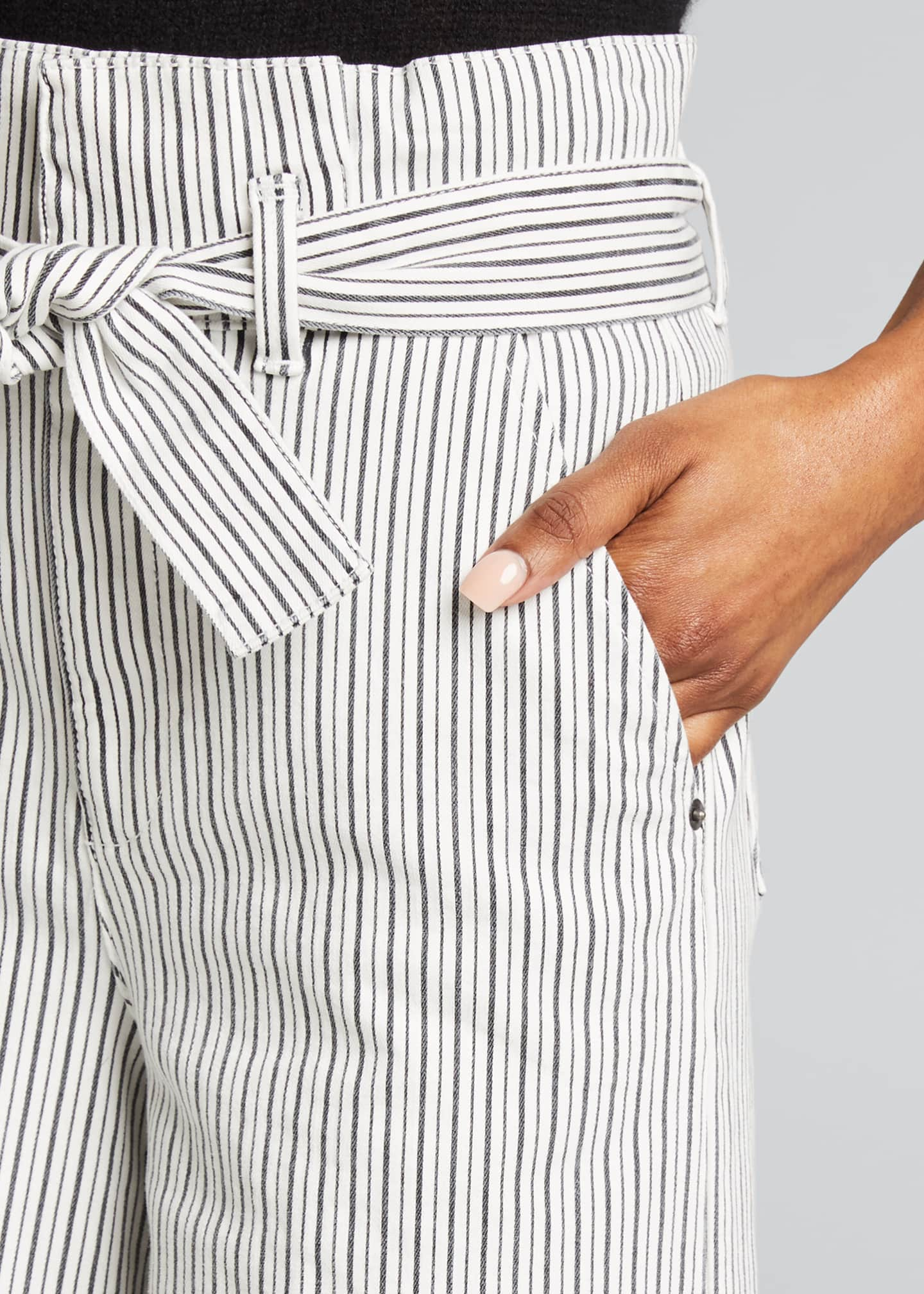 Image 4 of 5: Striped Pleated Culottes w/ Belt