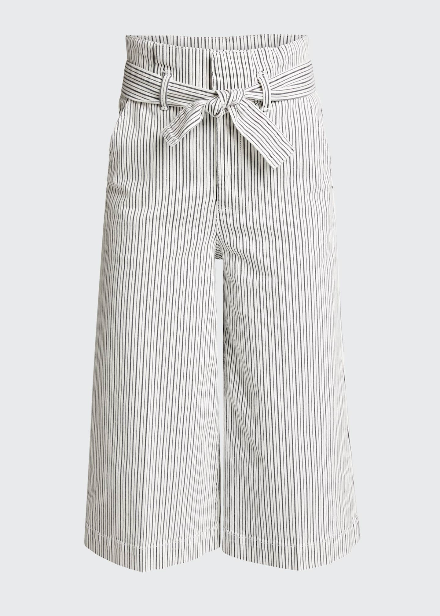 Image 5 of 5: Striped Pleated Culottes w/ Belt