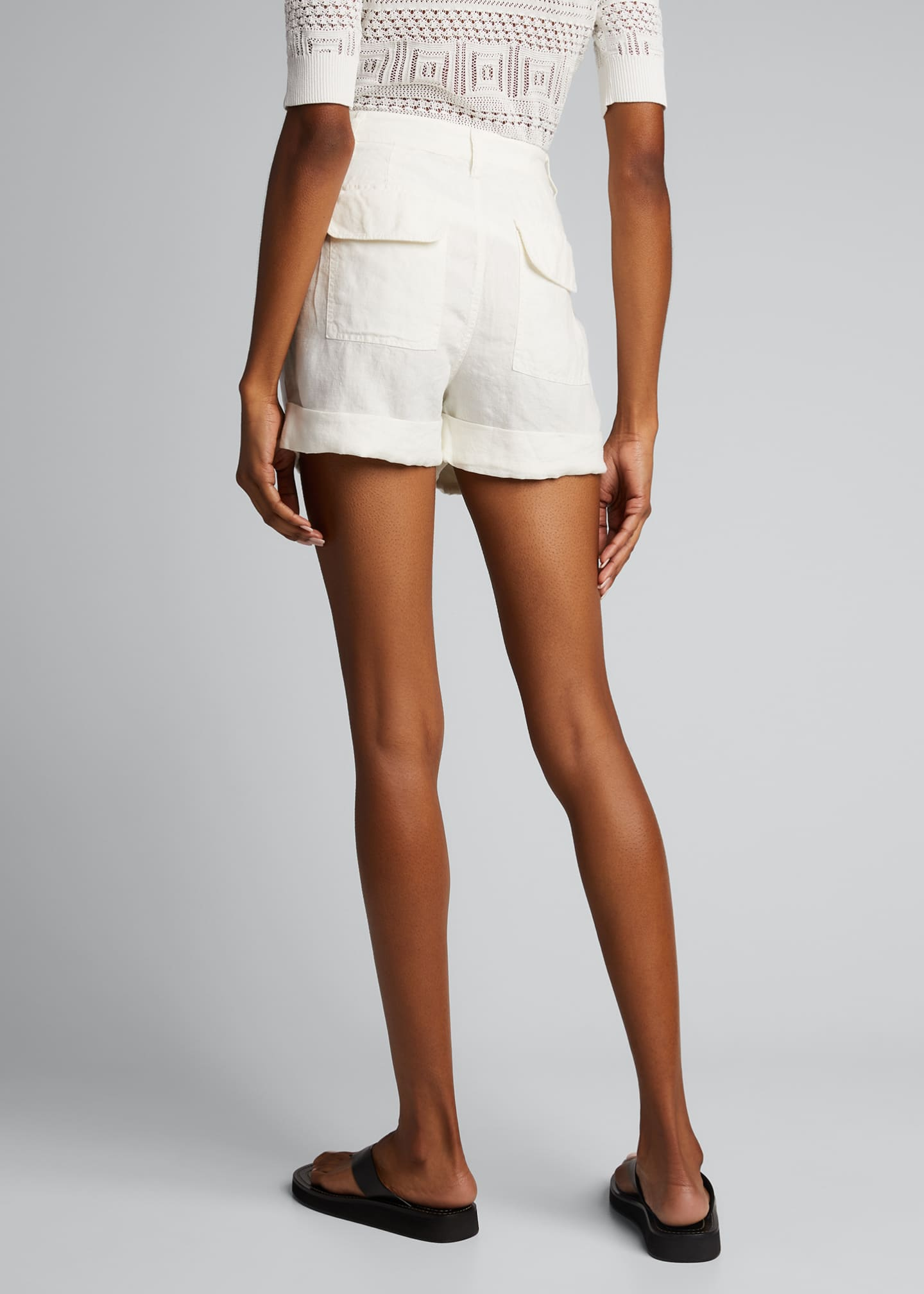 Image 2 of 5: Le Beau High-Rise Cuffed Linen Shorts