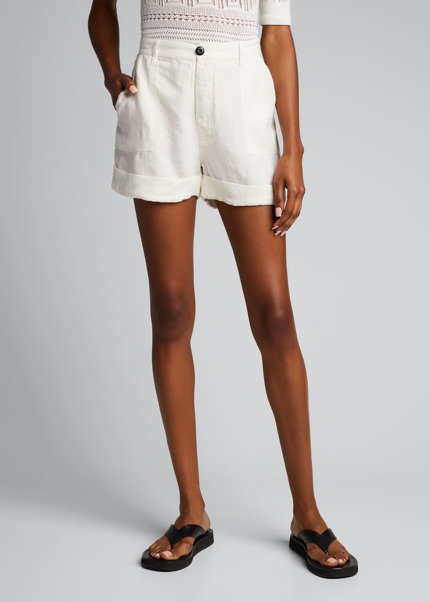 Image 3 of 5: Le Beau High-Rise Cuffed Linen Shorts