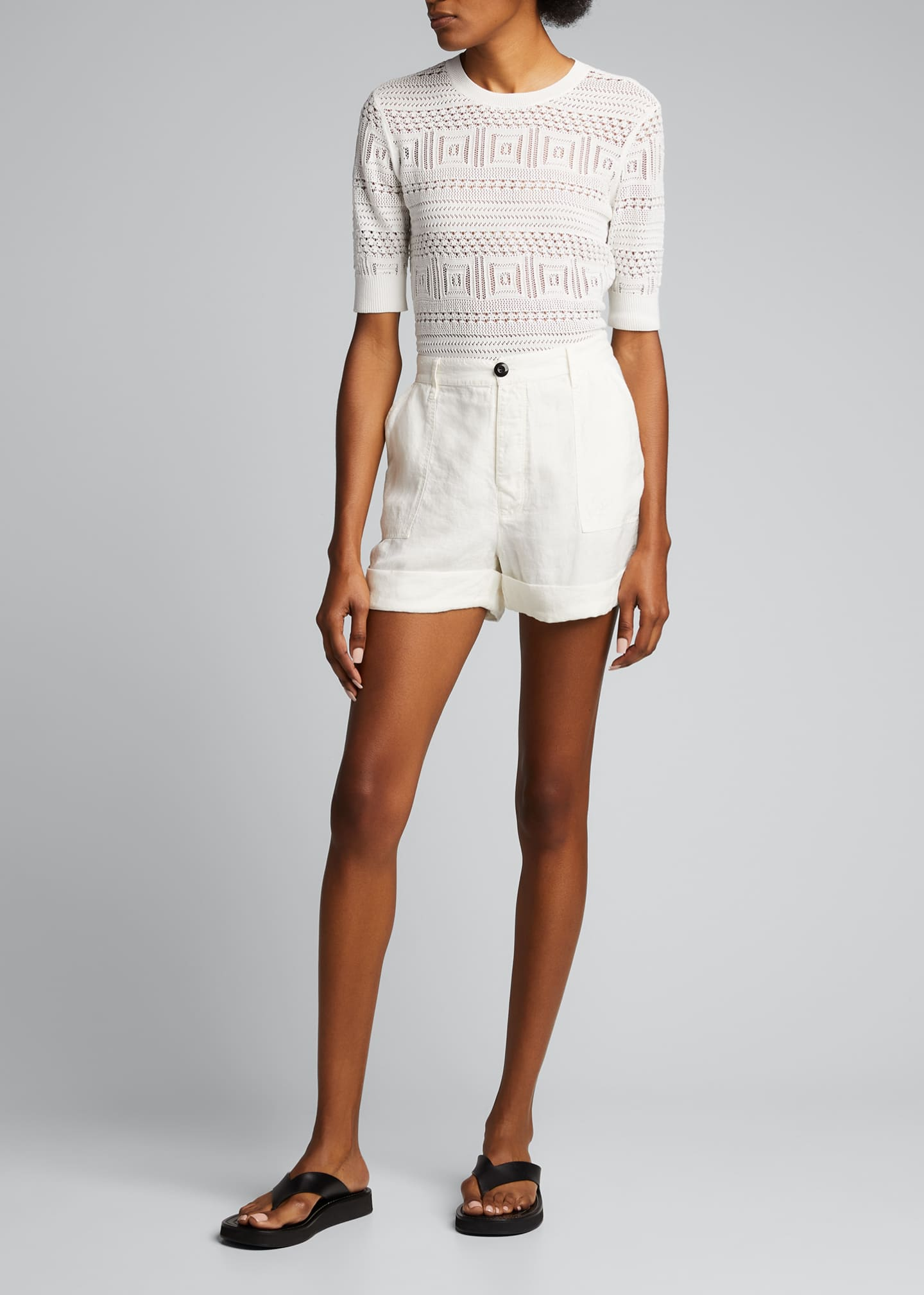 Image 1 of 5: Le Beau High-Rise Cuffed Linen Shorts