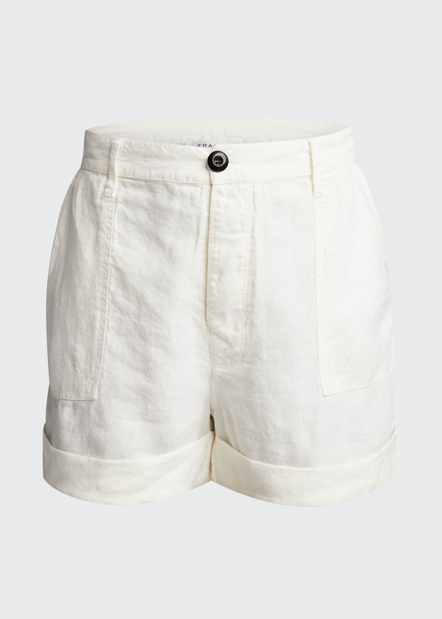 Image 5 of 5: Le Beau High-Rise Cuffed Linen Shorts