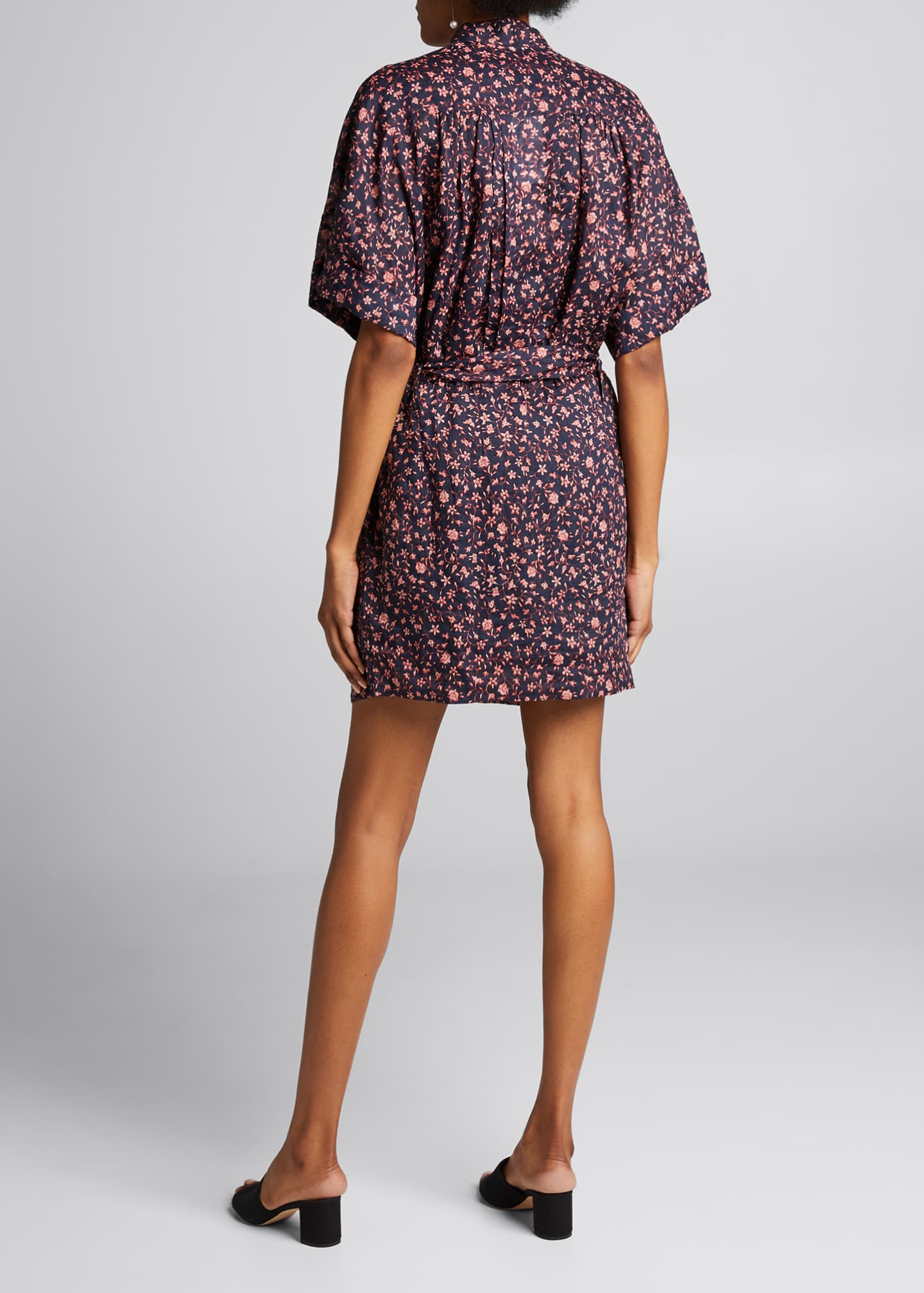 Image 2 of 5: Floral Rolled-Sleeve Button-Down Dress