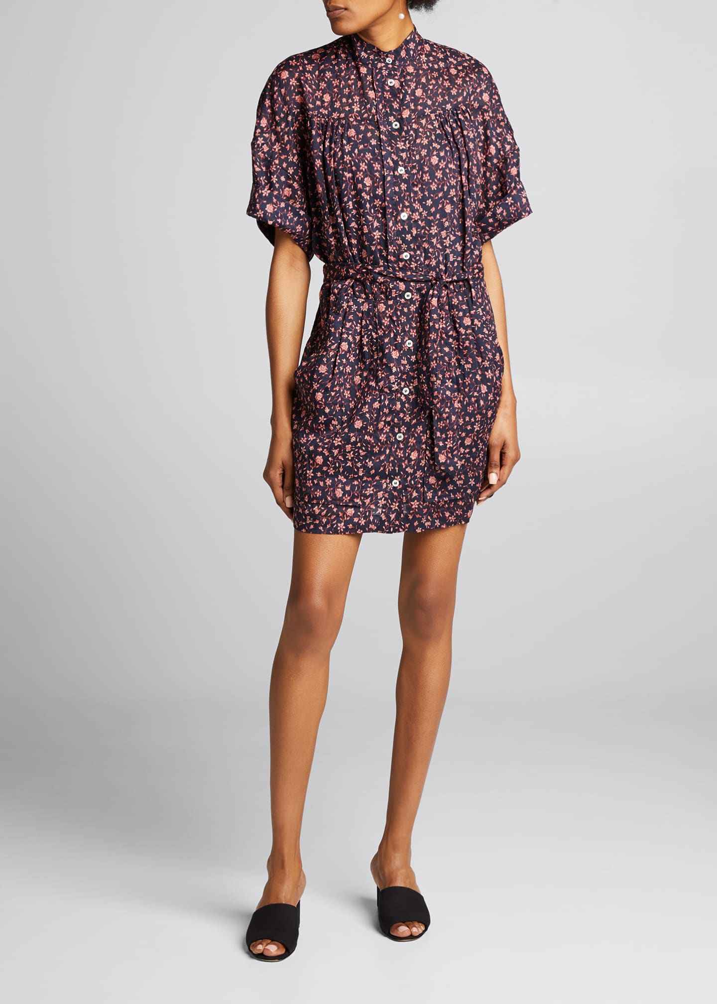 Image 3 of 5: Floral Rolled-Sleeve Button-Down Dress