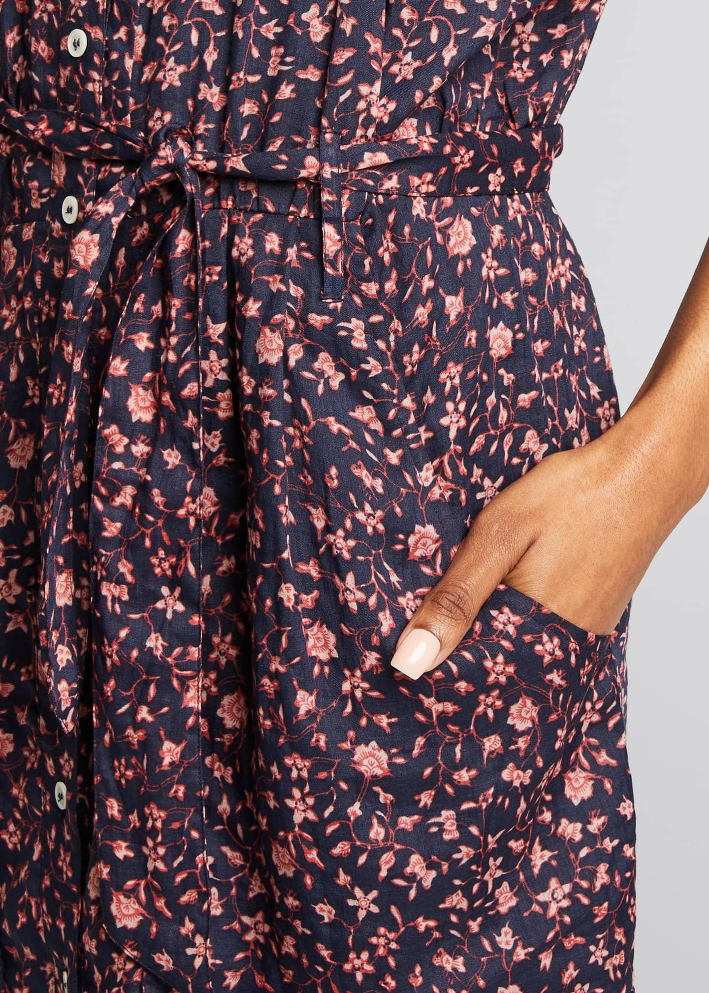 Image 4 of 5: Floral Rolled-Sleeve Button-Down Dress