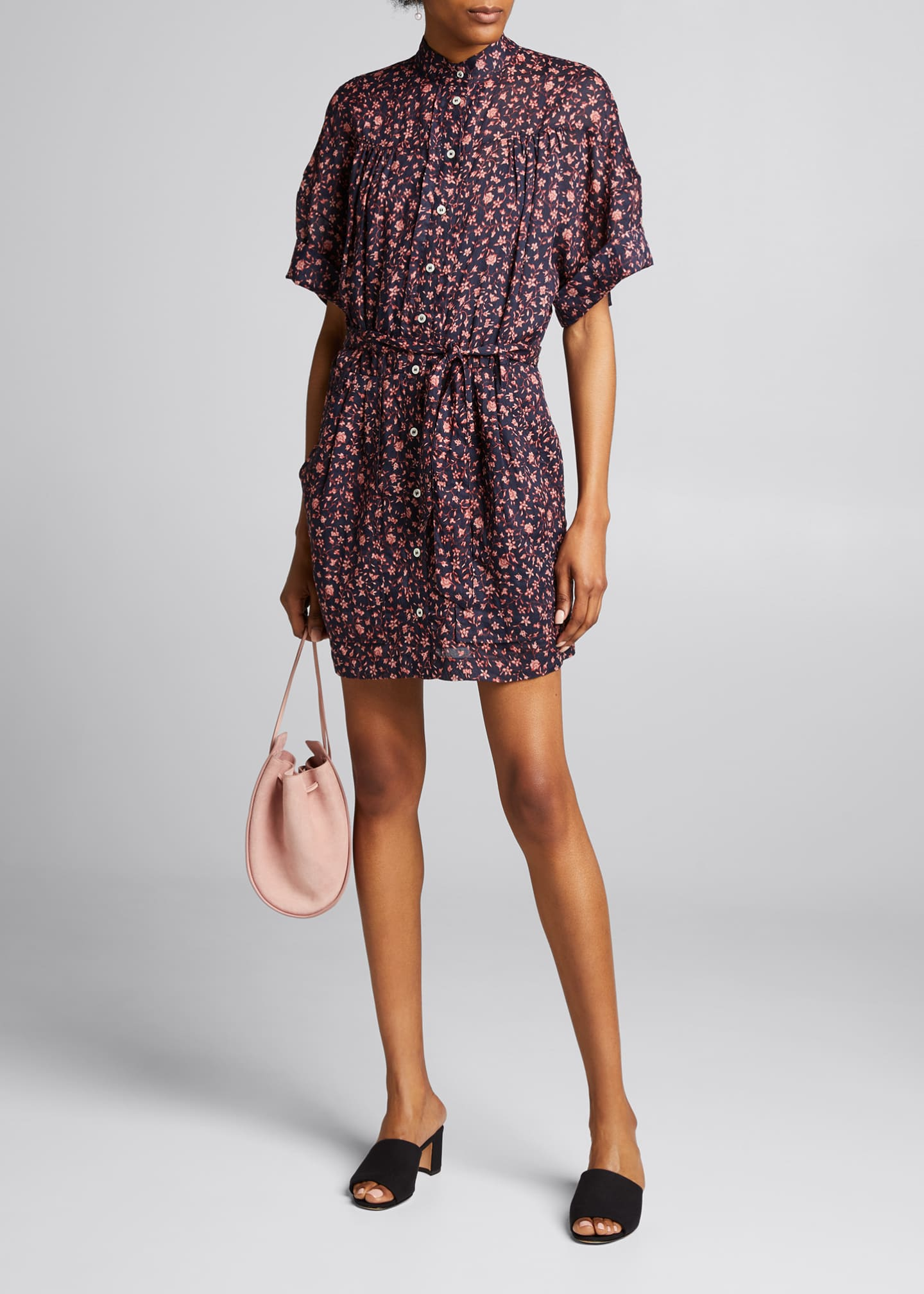 Image 1 of 5: Floral Rolled-Sleeve Button-Down Dress