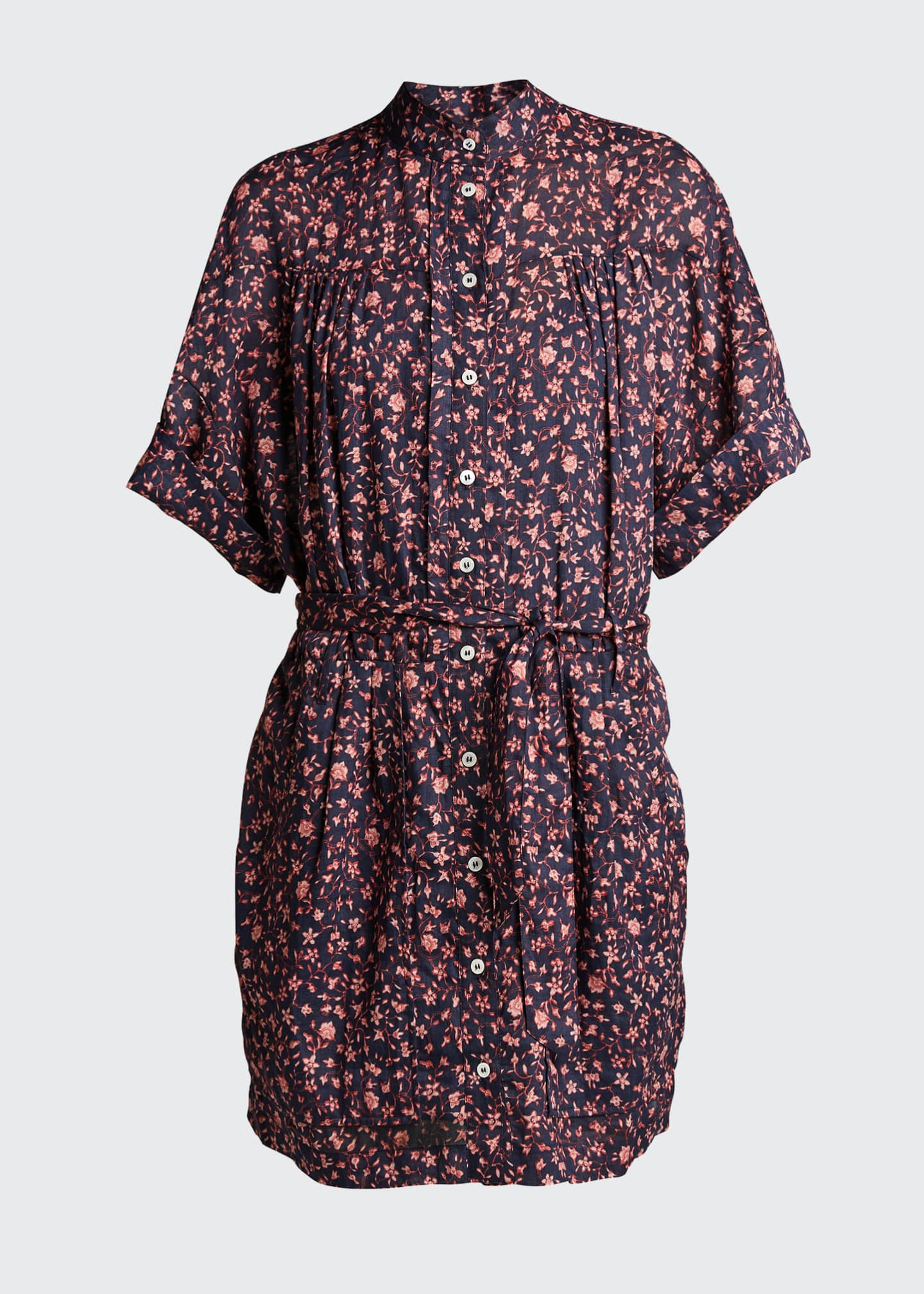 Image 5 of 5: Floral Rolled-Sleeve Button-Down Dress