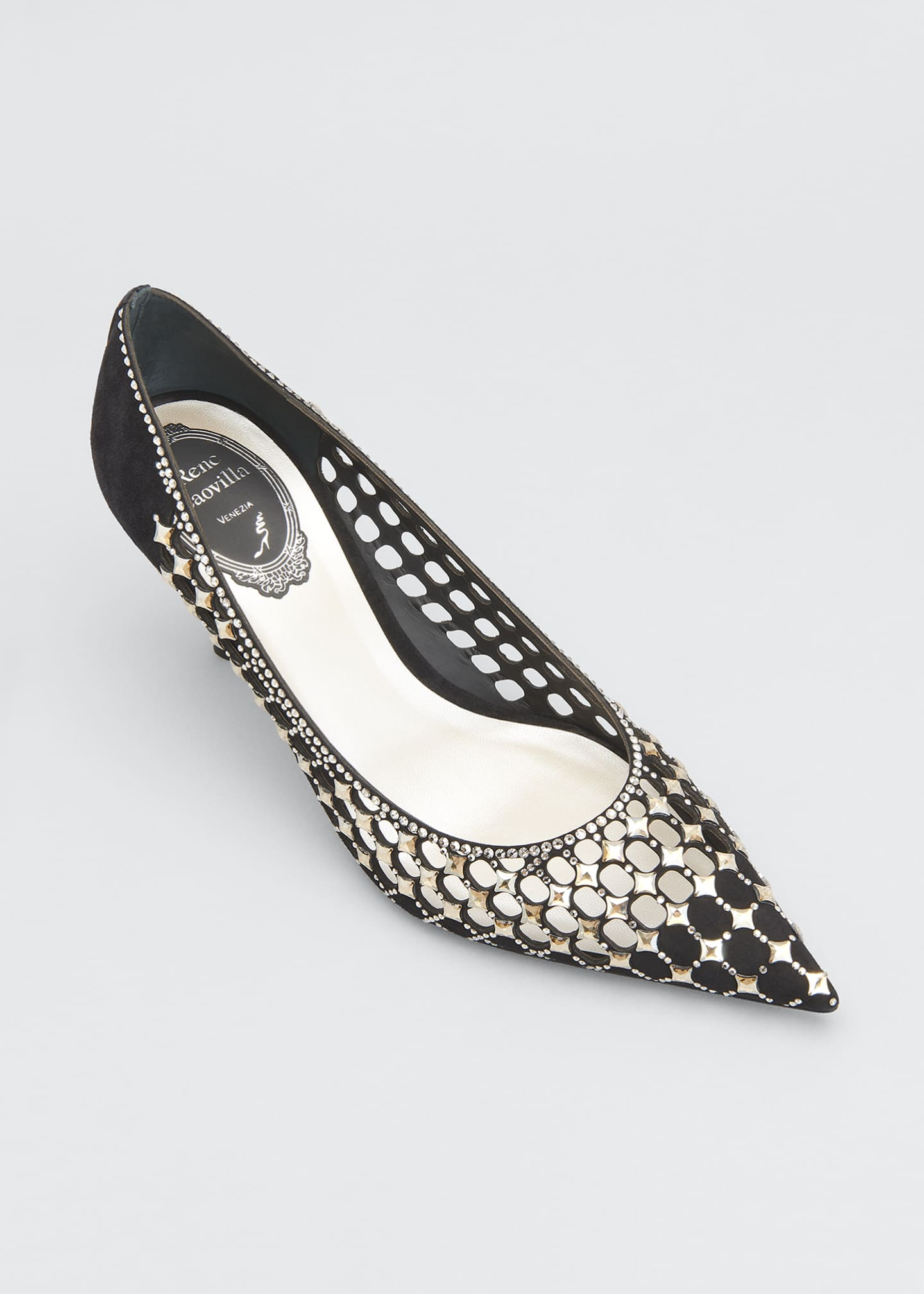 Image 3 of 3: 75mm Laser Cut Suede Pumps