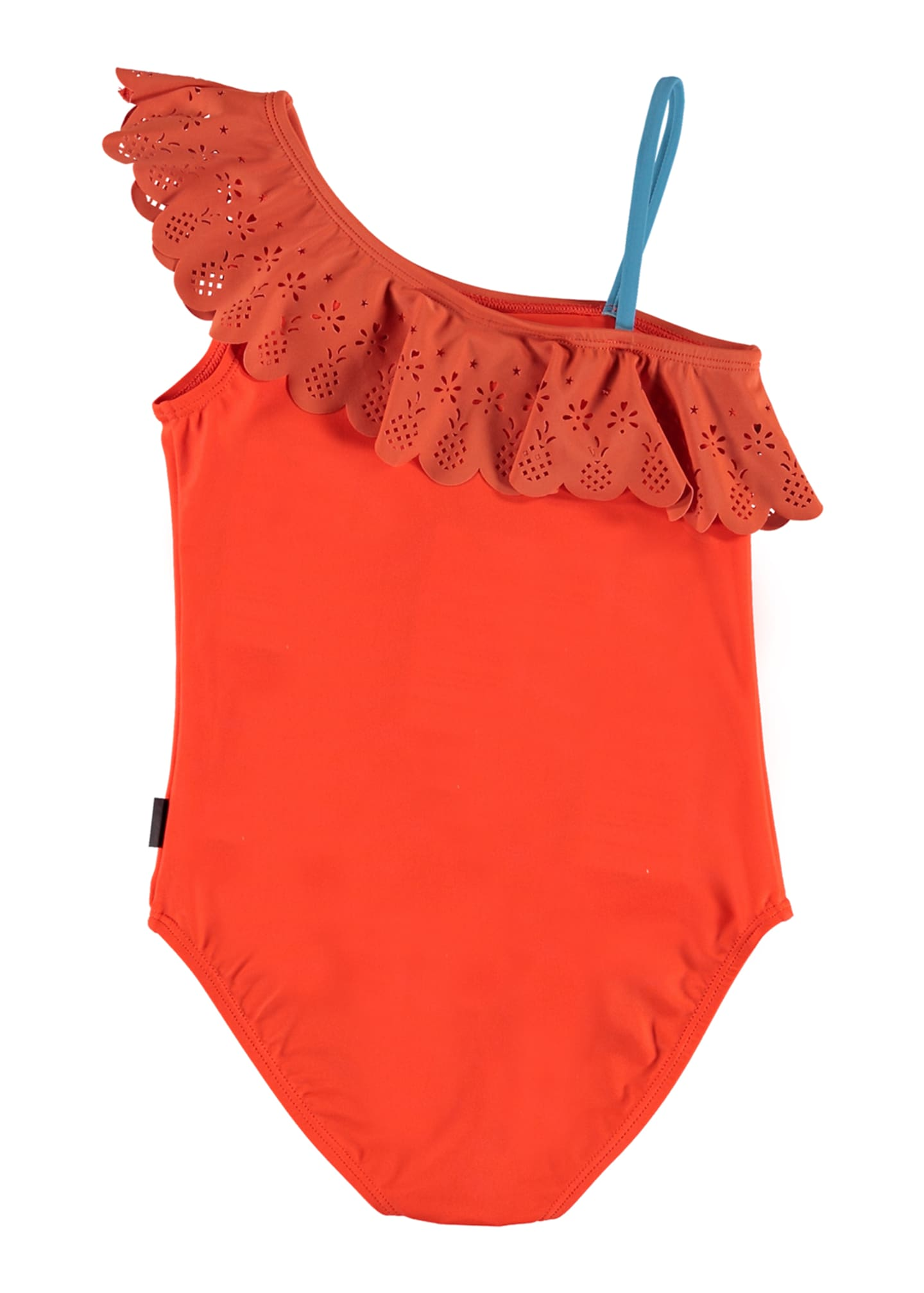 Image 2 of 2: Girl's Net Laser-Cut Frill One-Piece Swimsuit, Size 4-12