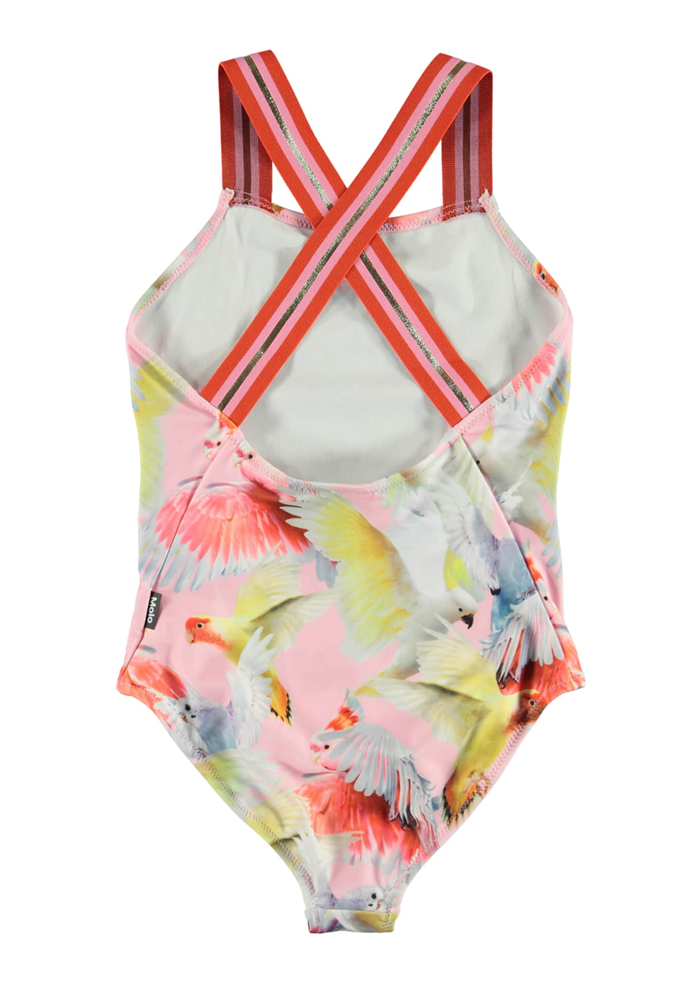 Image 3 of 3: Girl's Neve Birds Print Sports Strap One-Piece Swimsuit, Size 4-12