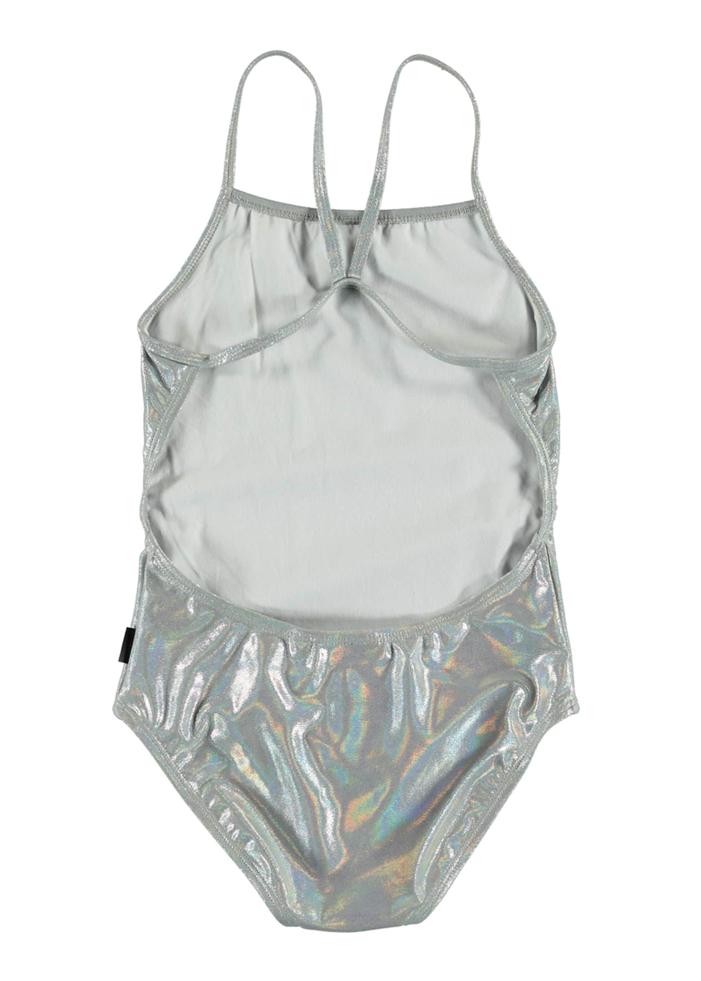 Image 2 of 2: Girl's Neda Silver Holographic One-Piece Swimsuit, Size 5-12