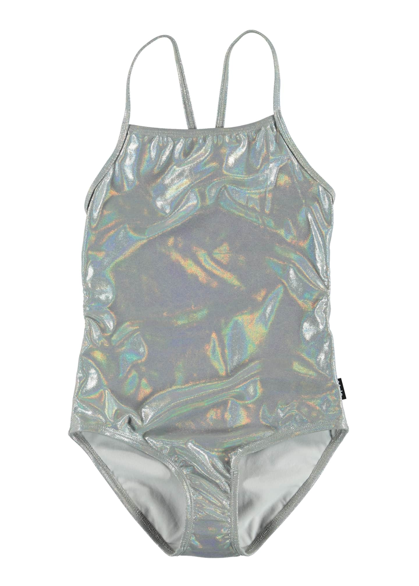 Image 1 of 2: Girl's Neda Silver Holographic One-Piece Swimsuit, Size 5-12