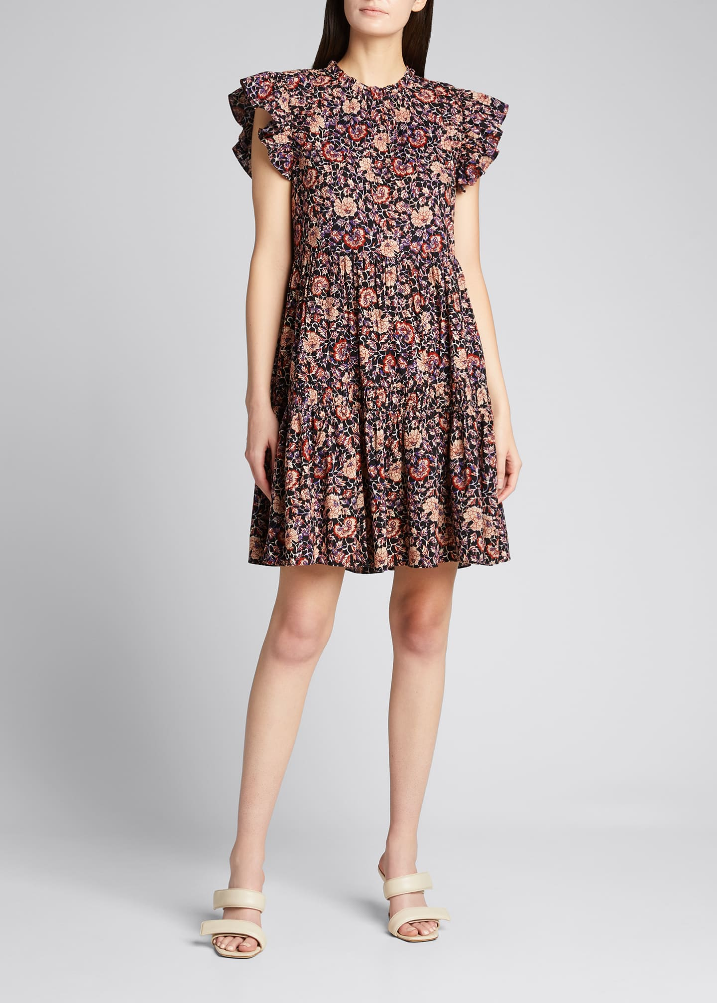 Image 3 of 5: Hana Floral Short-Sleeve Dress