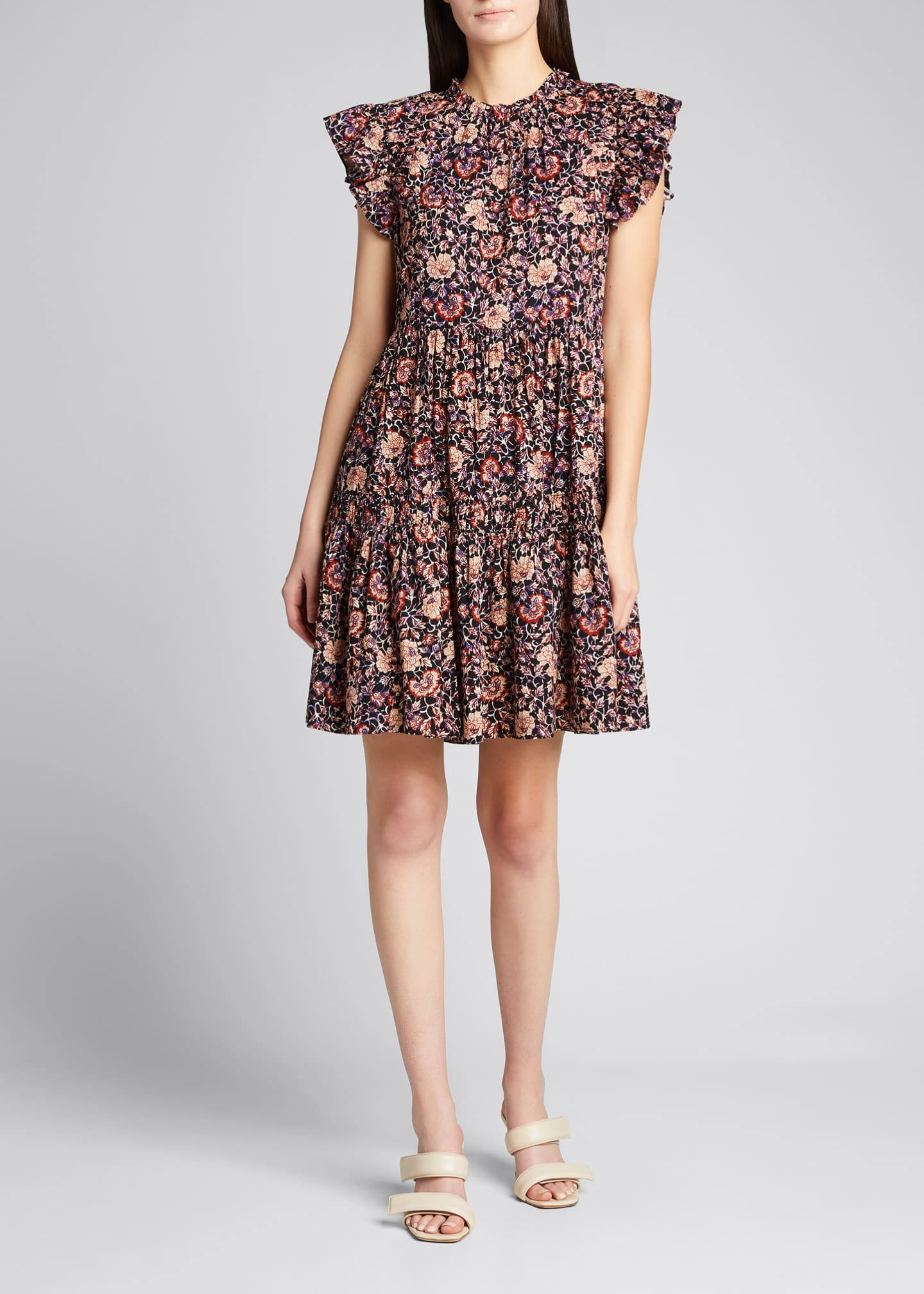 Image 1 of 5: Hana Floral Short-Sleeve Dress