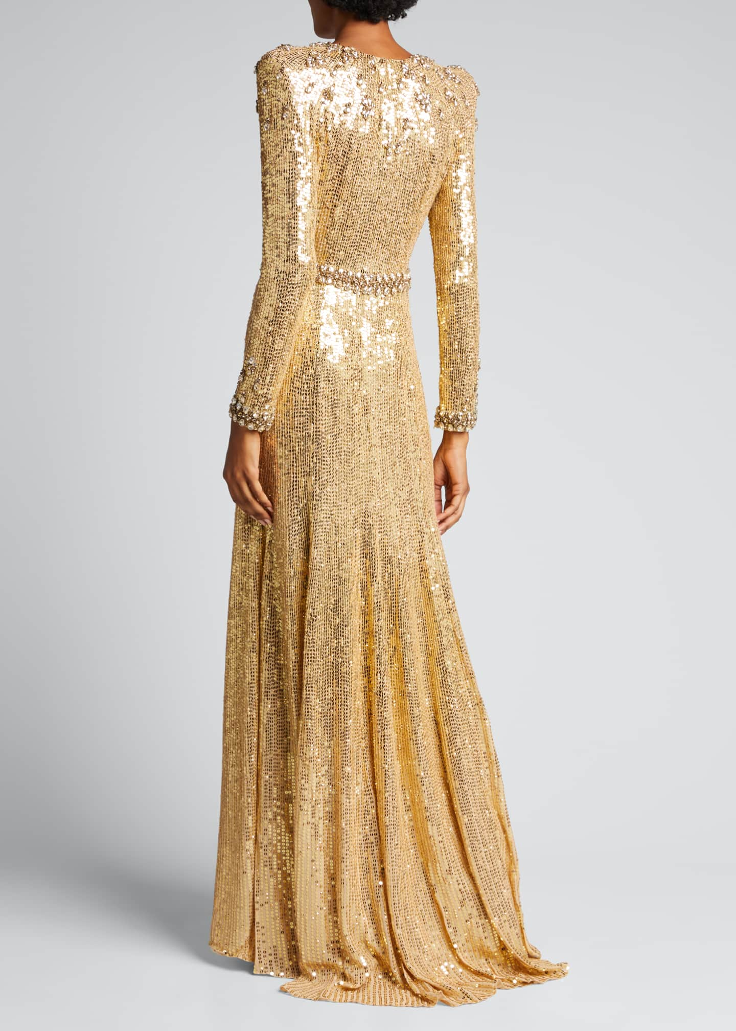 Image 2 of 5: Embellished Long-Sleeve Column Gown