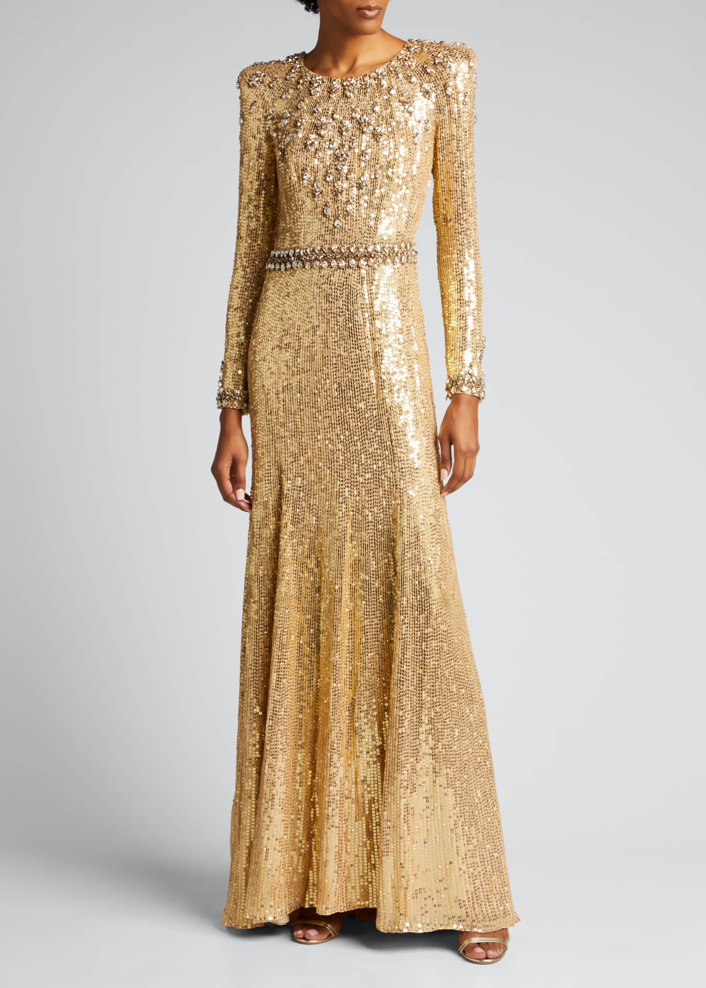 Image 3 of 5: Embellished Long-Sleeve Column Gown
