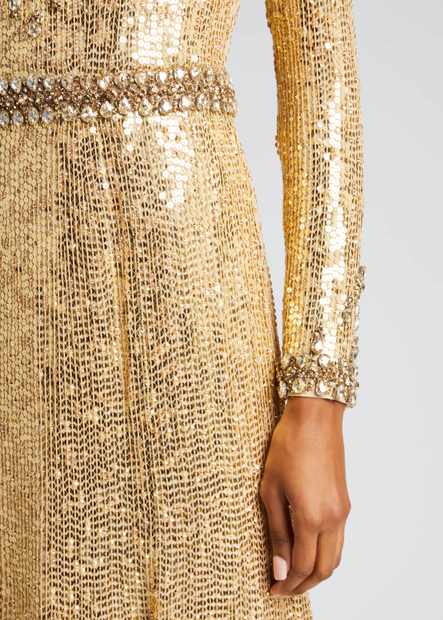Image 4 of 5: Embellished Long-Sleeve Column Gown