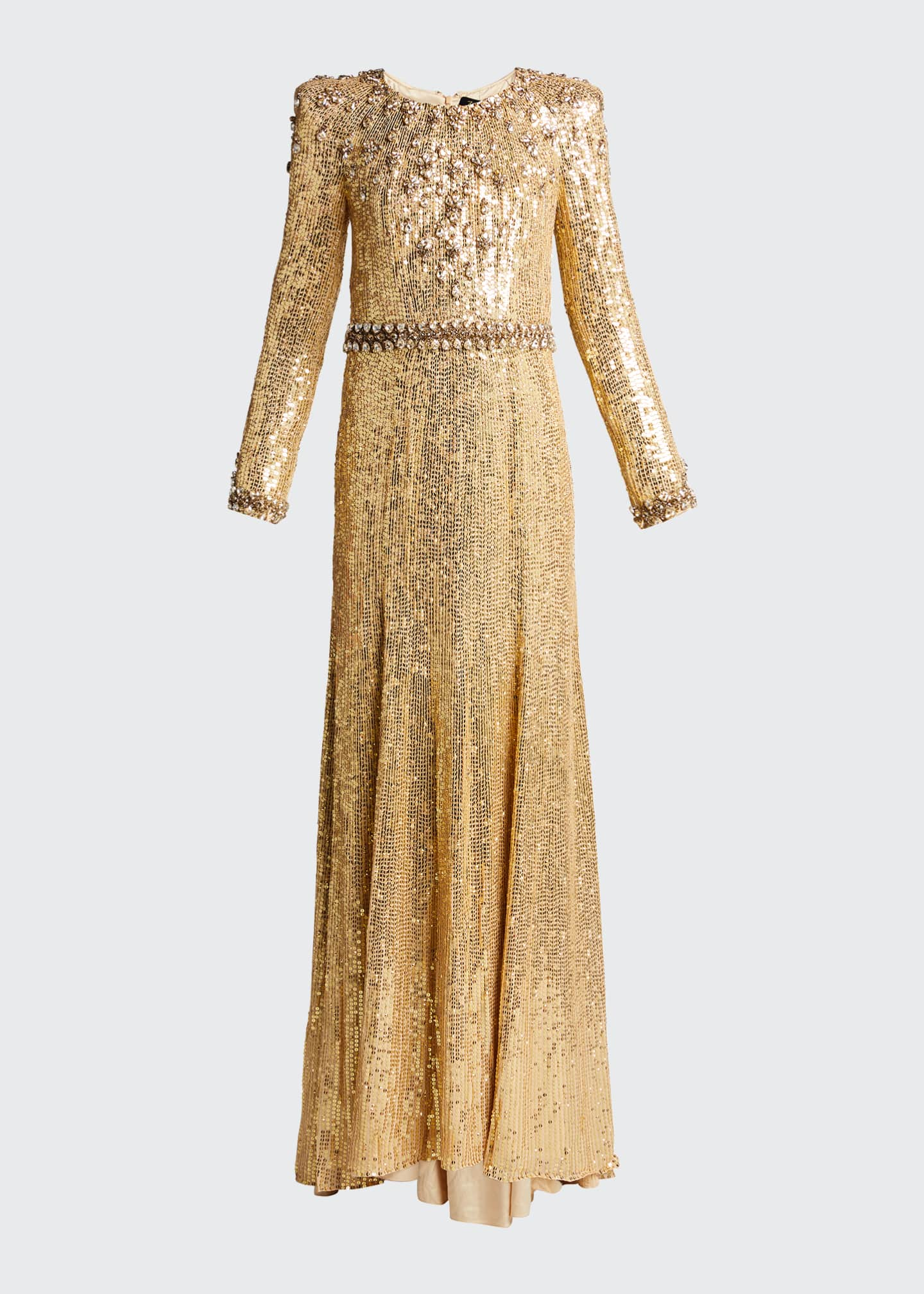 Image 5 of 5: Embellished Long-Sleeve Column Gown