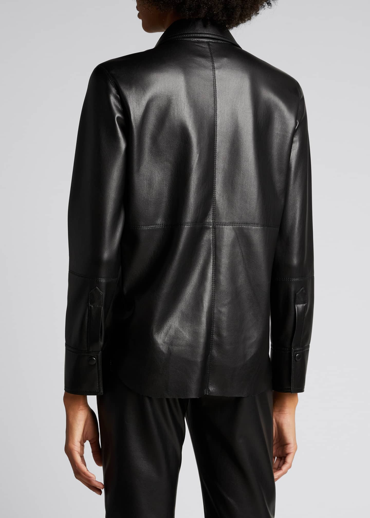 Image 2 of 4: Naum Faux-Leather Long-Sleeve Shirt